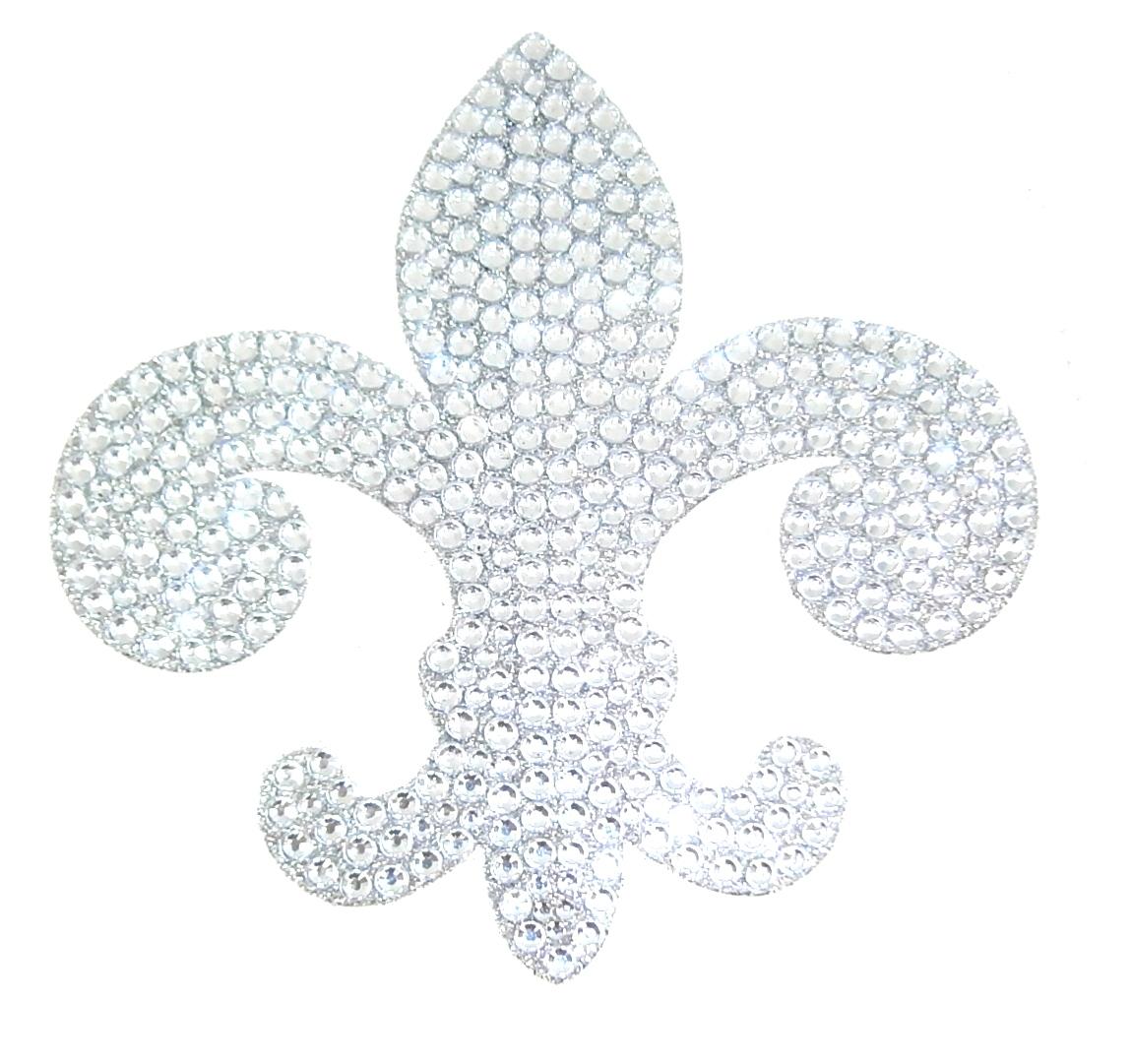 Silver Fleur De Lis Crystal Rhinestone Removable Decal