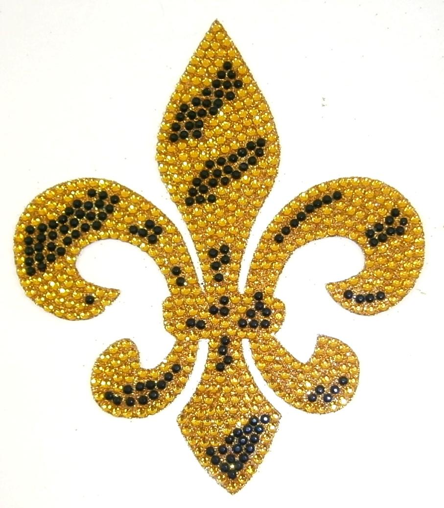 Gold Black Zebra Fleur De Lis Crystal Rhinestone Sticker