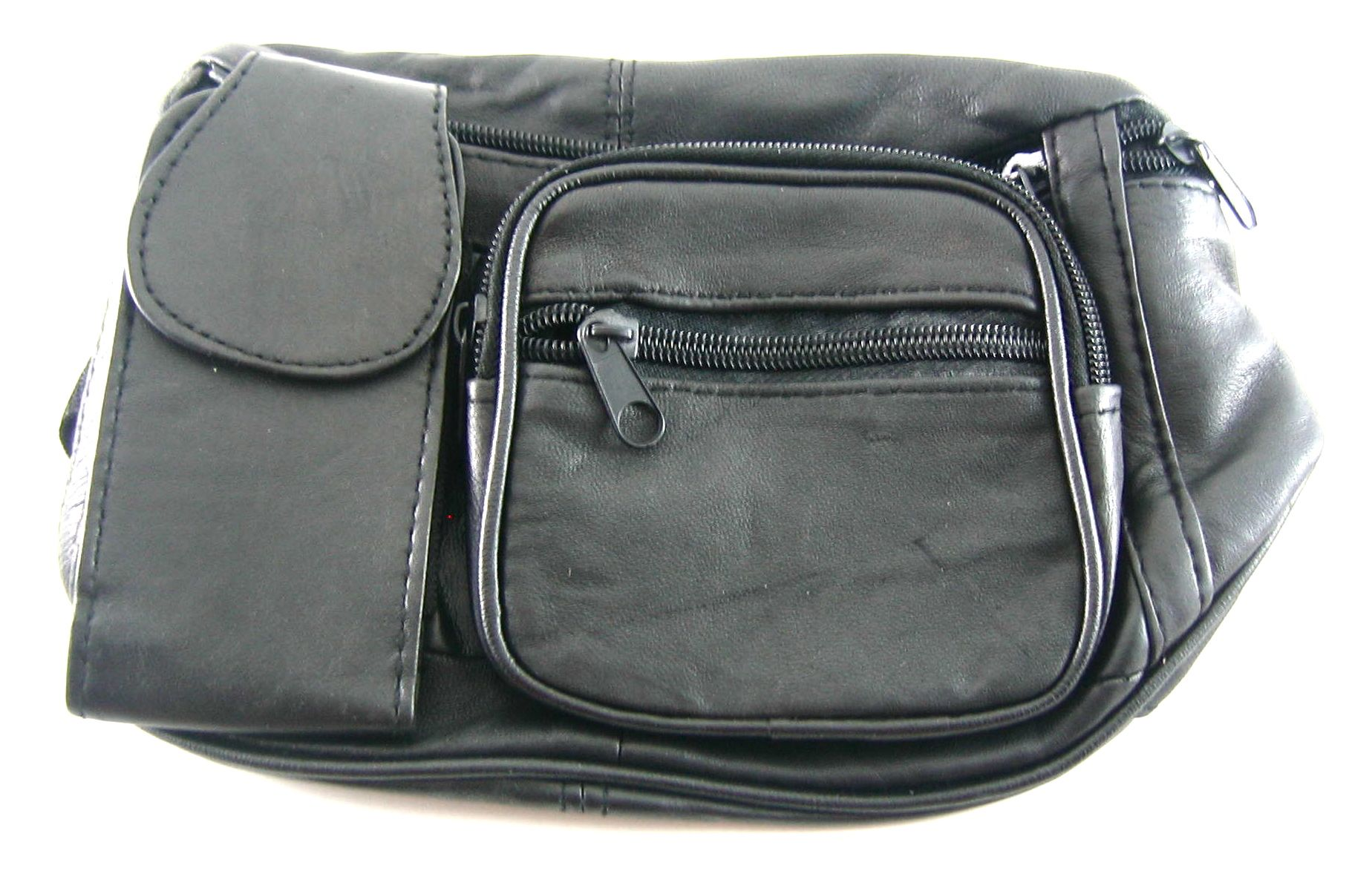 CuffCrazy Black Genuine Leather Fanny Pack Waist Bag w/Cell Phone Pocket Holder at Sears.com