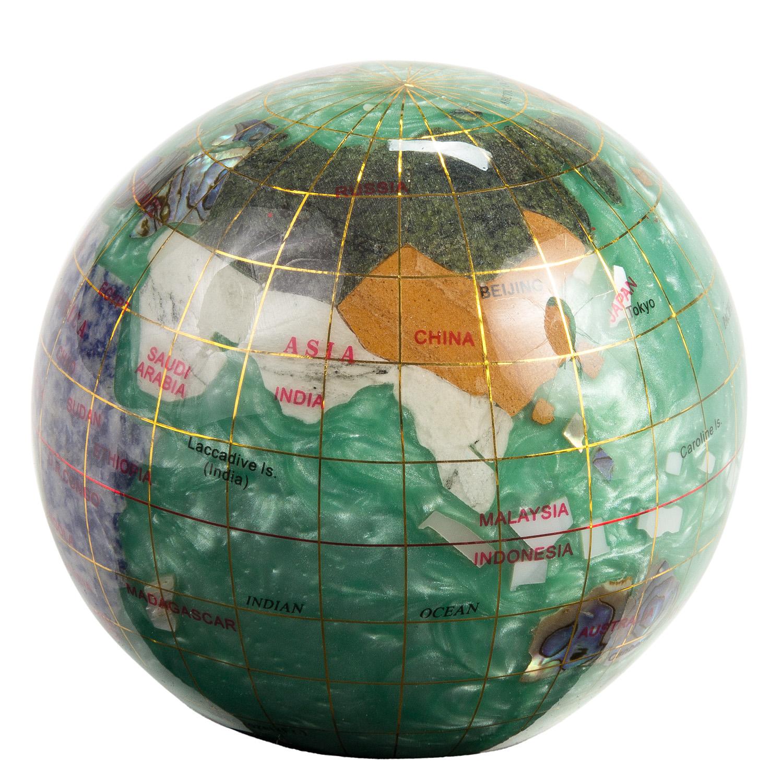 peridot green 3 quot gemstone globe world desk paperweight