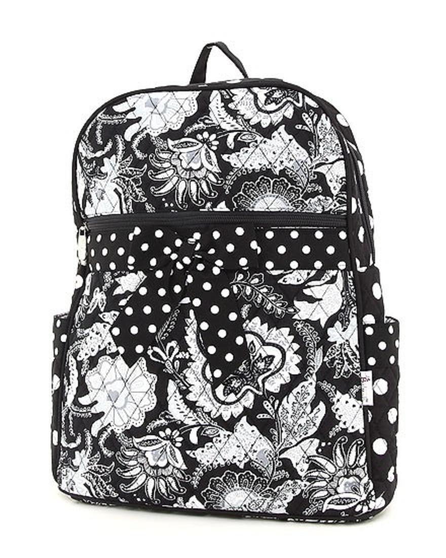 a1ae6e2e9c Belvah Black White Quilted Floral Paisley Polka Dot Bow Medium Backpack Bag