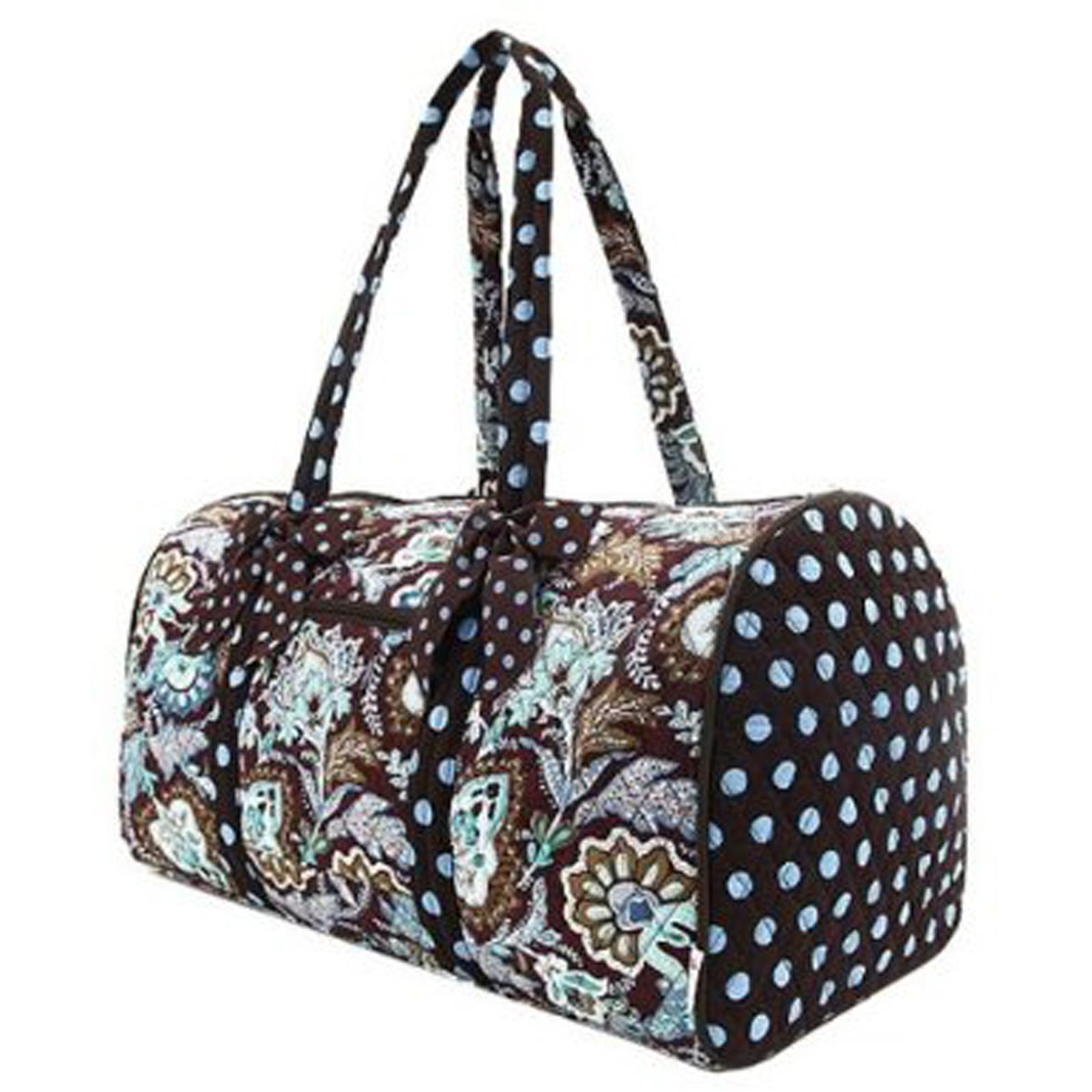 Belvah Brown And Turquoise Quilted Floral Large Duffle Duffel Carry On Bag | EBay