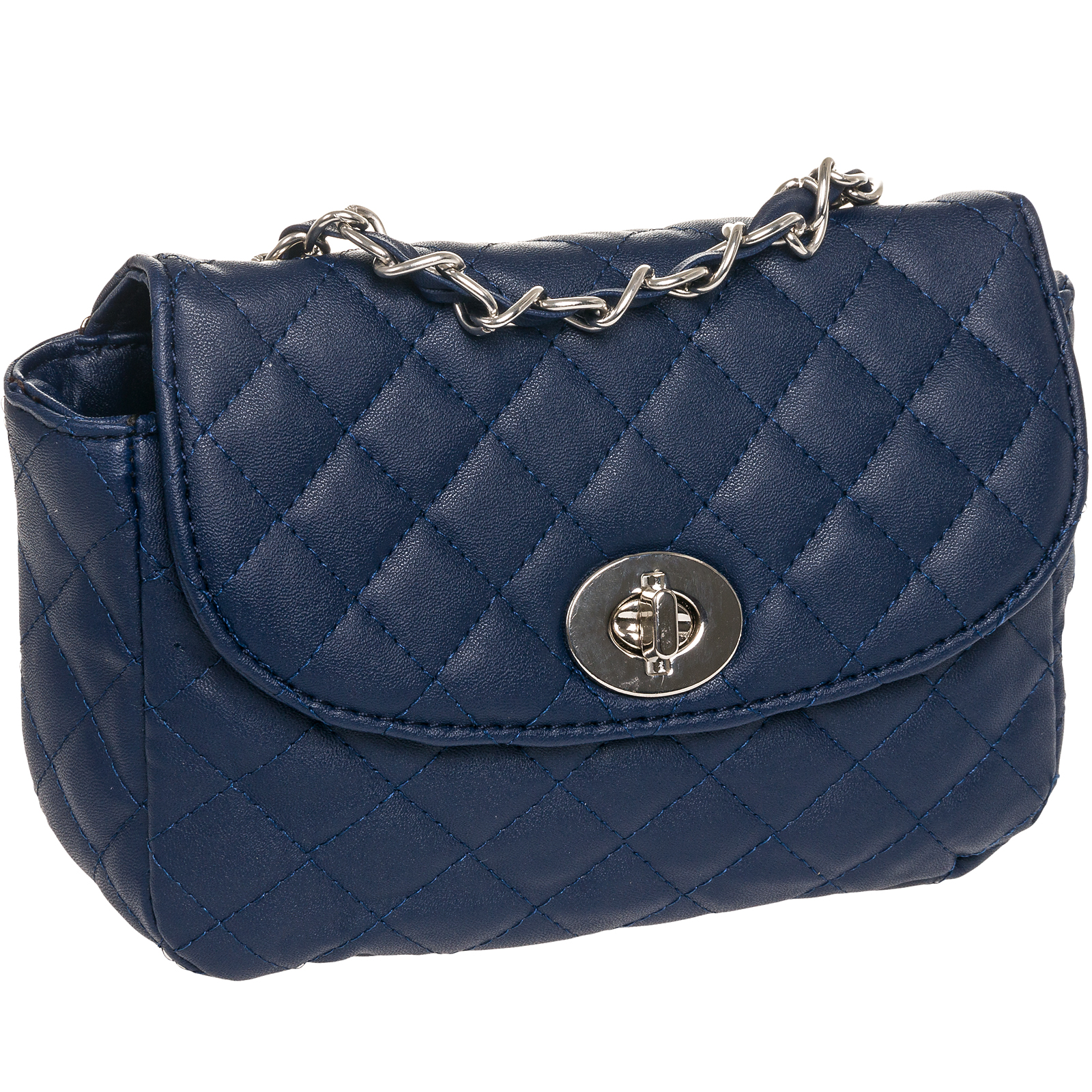 about Navy Blue Quilted Faux Leather Crossbody Handbag Bag Purse ...