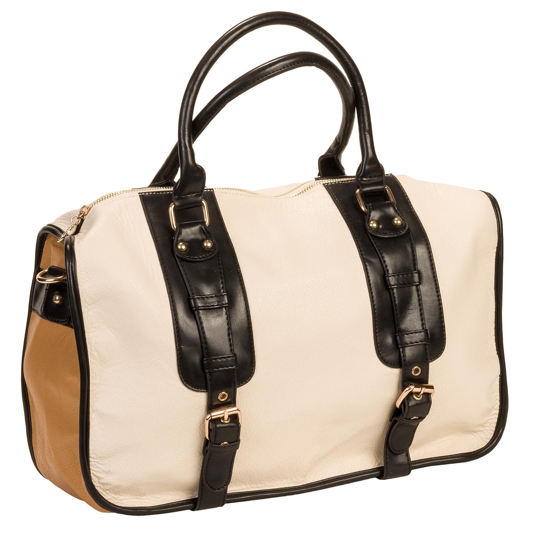 Nila Anthony Women's Ivory White Weekender Duffel Bag ...