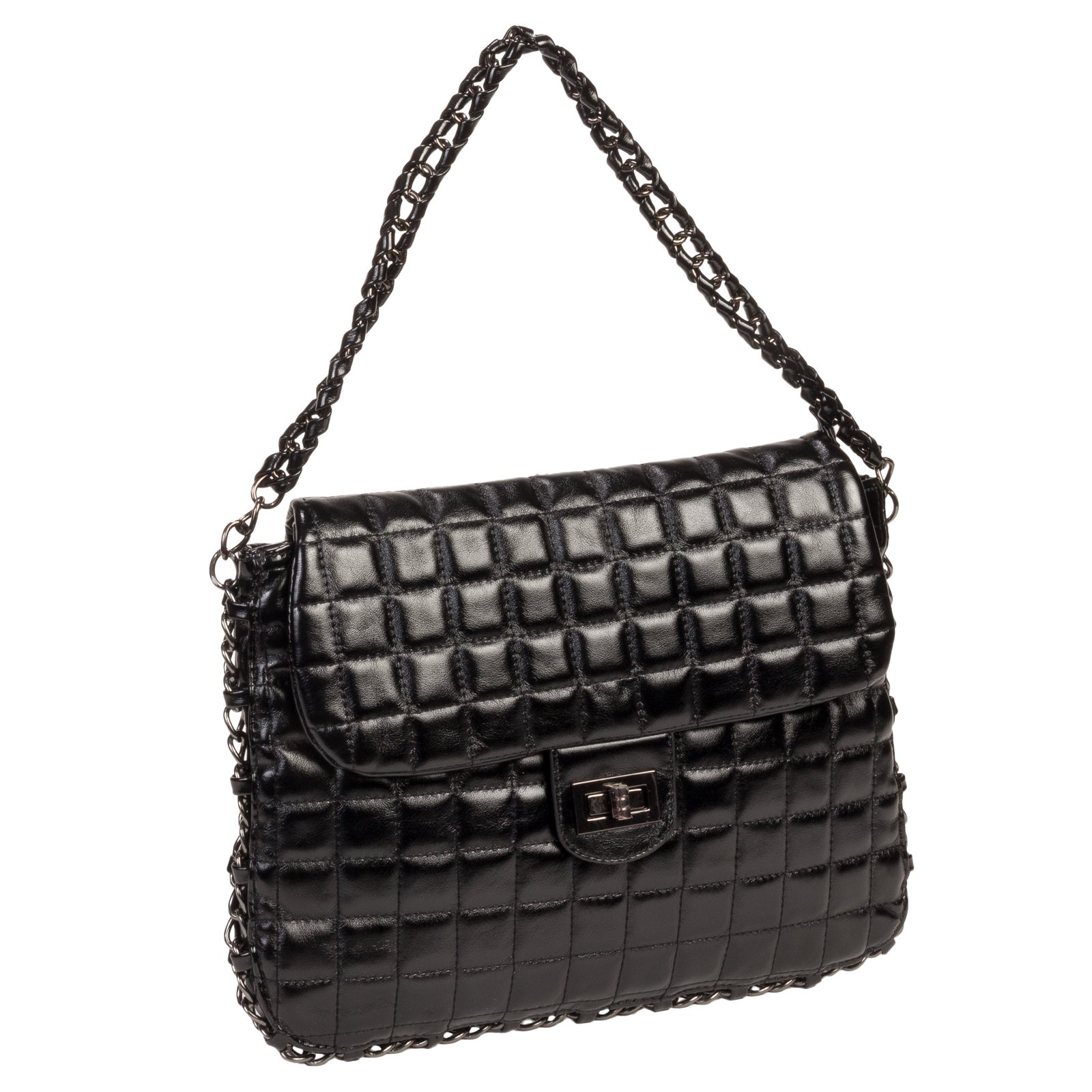 Quilted Designer Styled Shoulder Handbag Purse Bag w ...