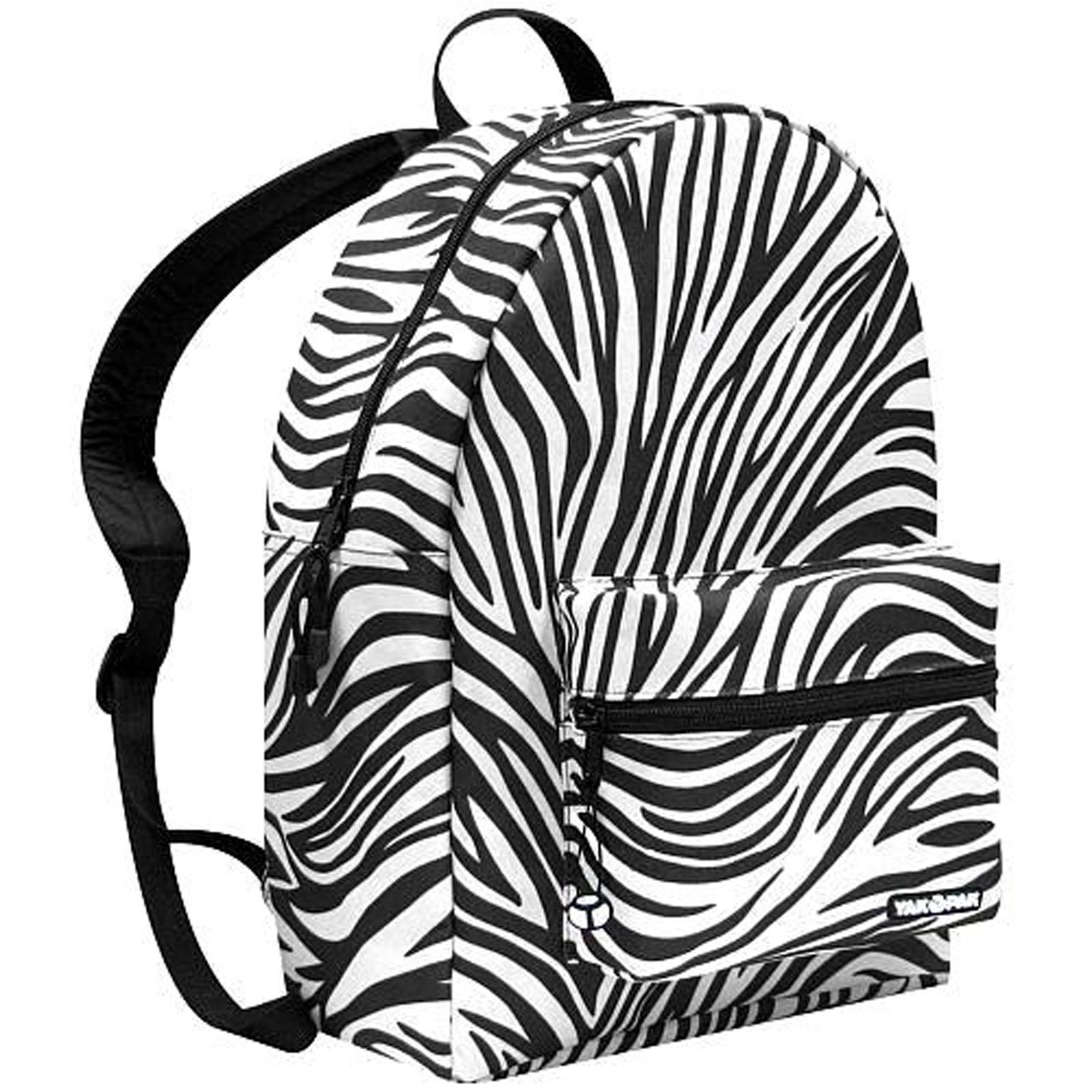... & White Zebra Print Deluxe Backpack Student School Laptop Book Bag
