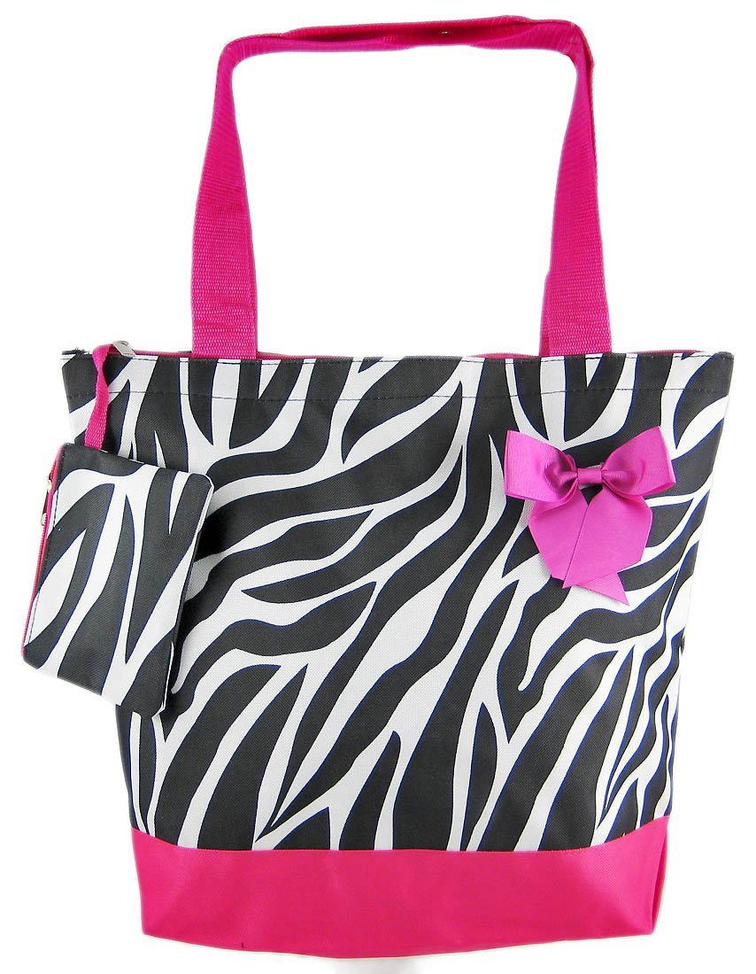 SilverHooks Zebra Print Tote Beach Bag w/ Hot Pink Trim at Sears.com
