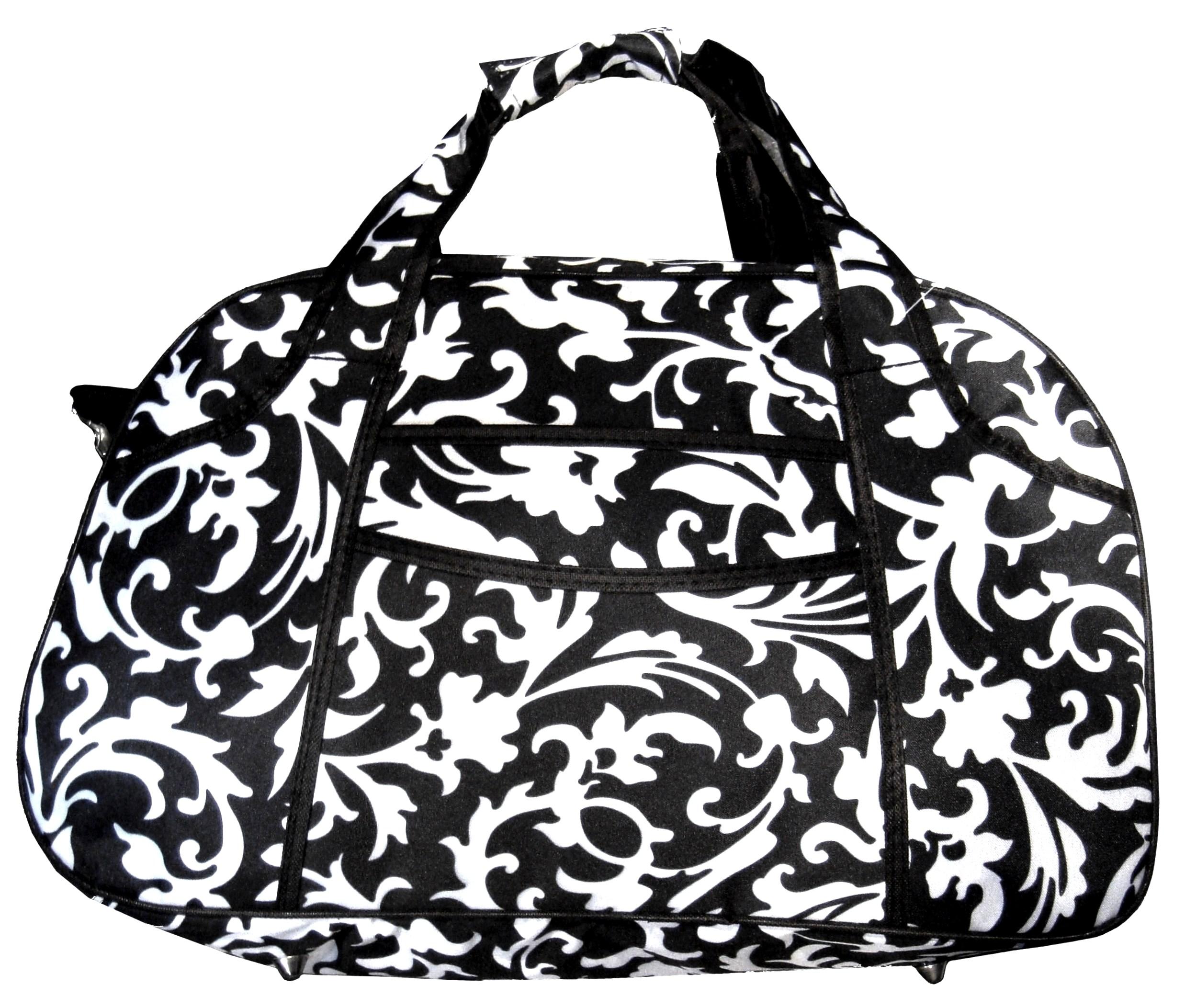 Damask Floral Print Small Carry On Duffle Duffel Travel Gym Bag W/ Black Trim | EBay