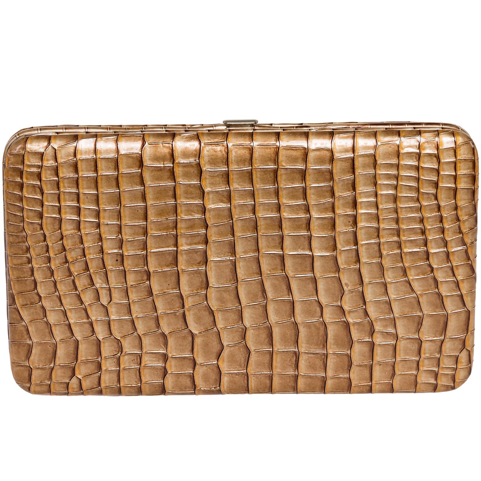 Reptile Flat Clutch Wallet Purse w/Checkbook Case
