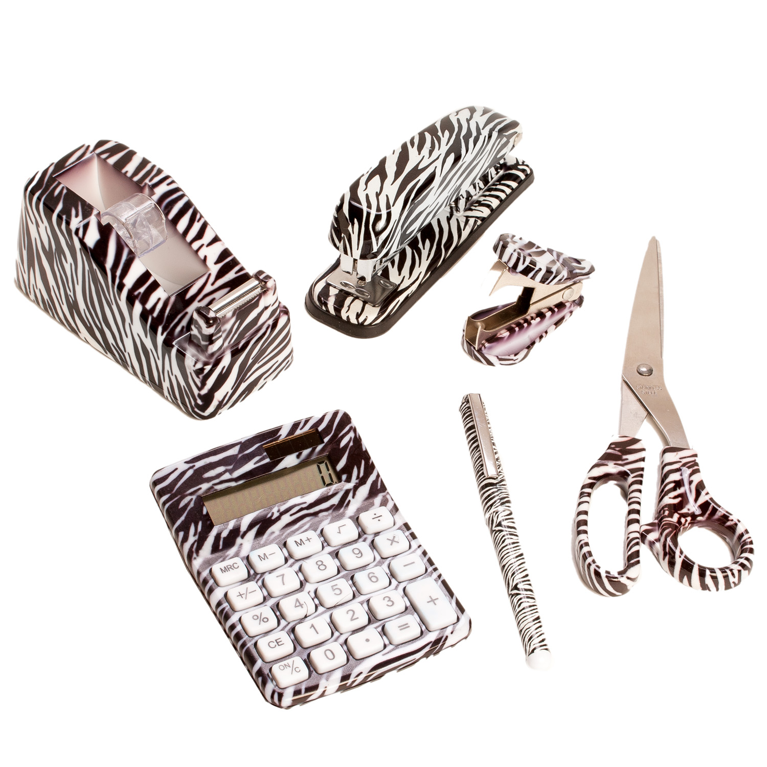 ... Leopard Office Supplies 6 Set Zebra Animal Office Stapler Remover  Scissors ...