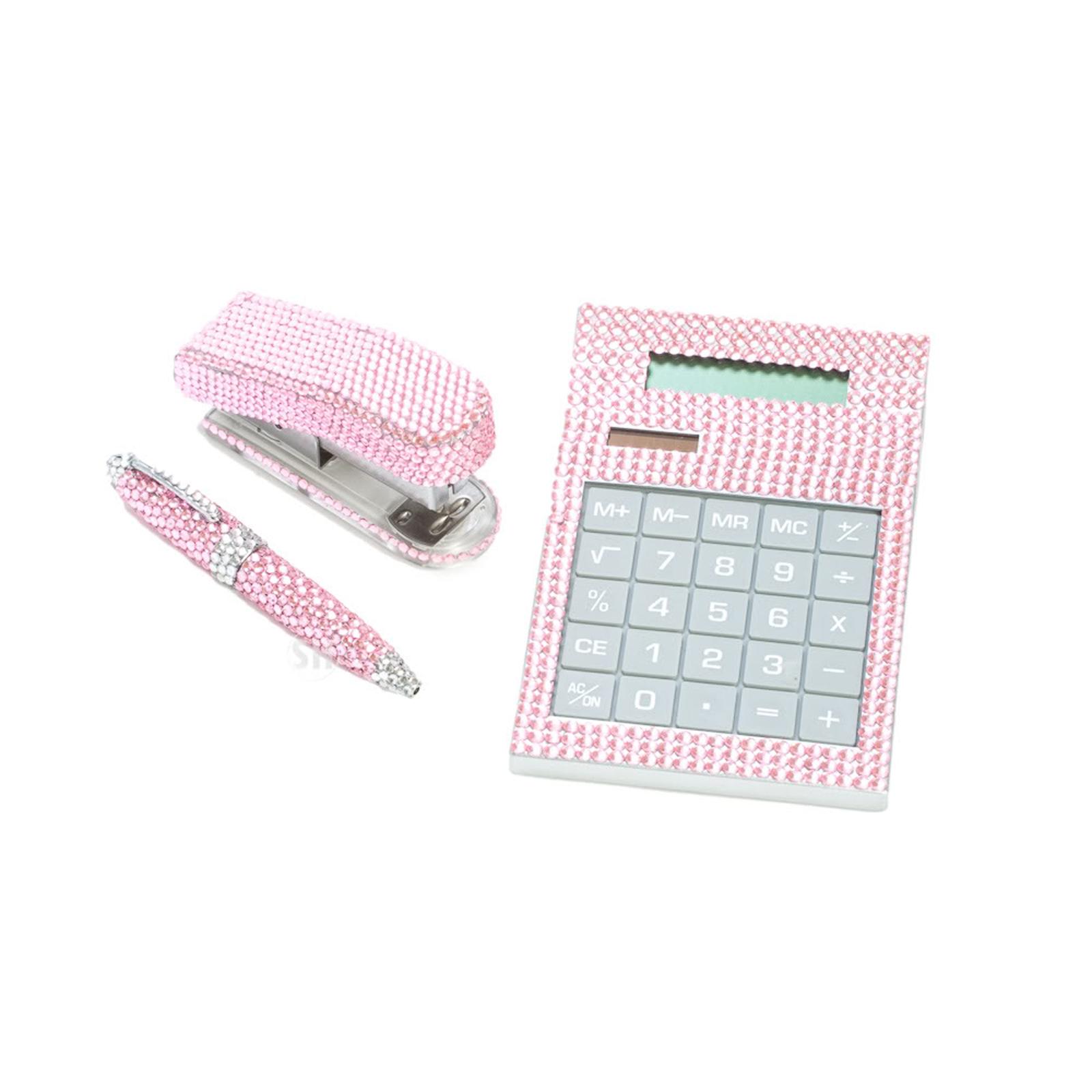 3 Piece Pink Crystal Desk fice Accessory Supply Set