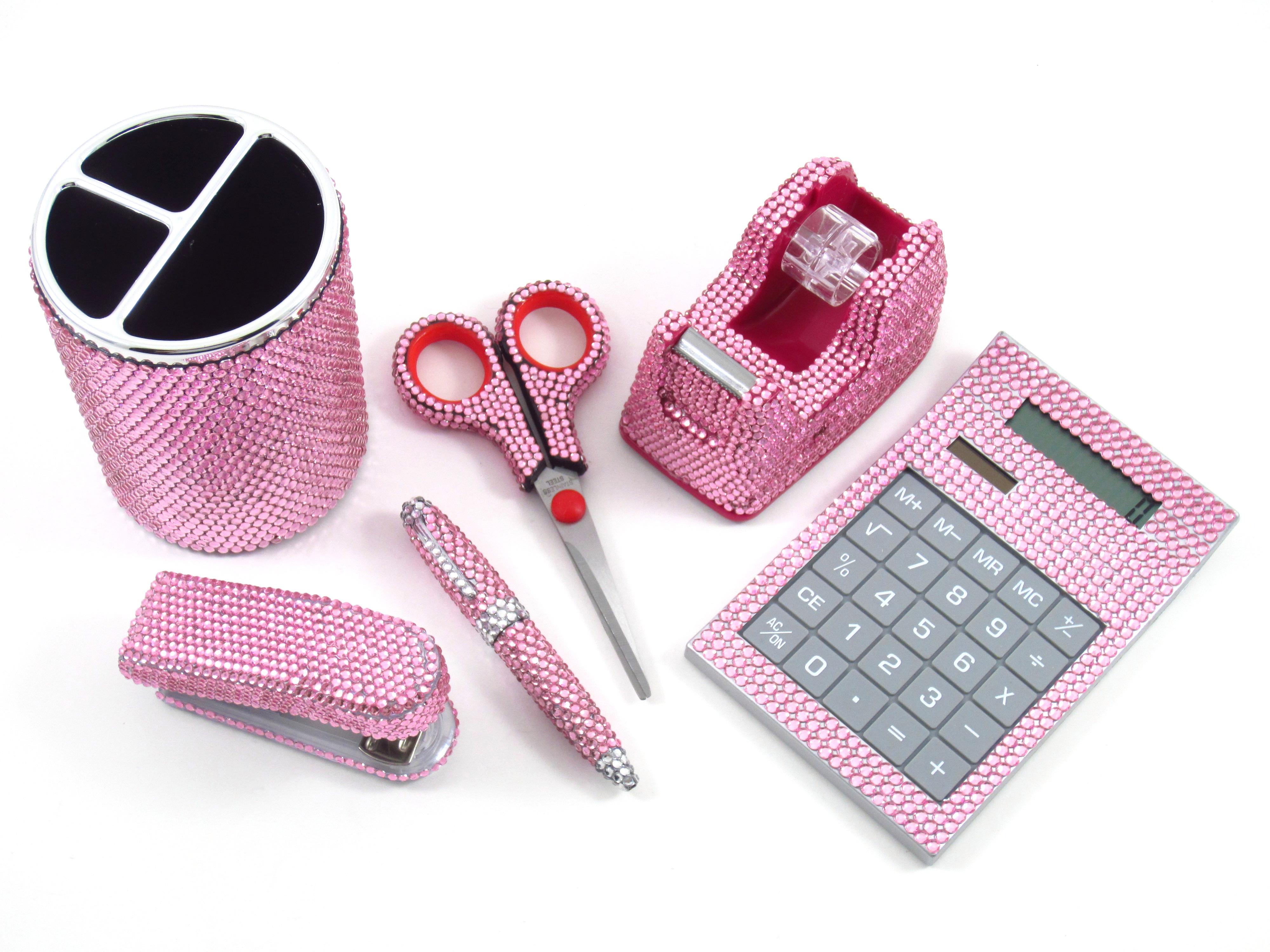 Pink Crystal fice Supply Set Pen Holder Scissors