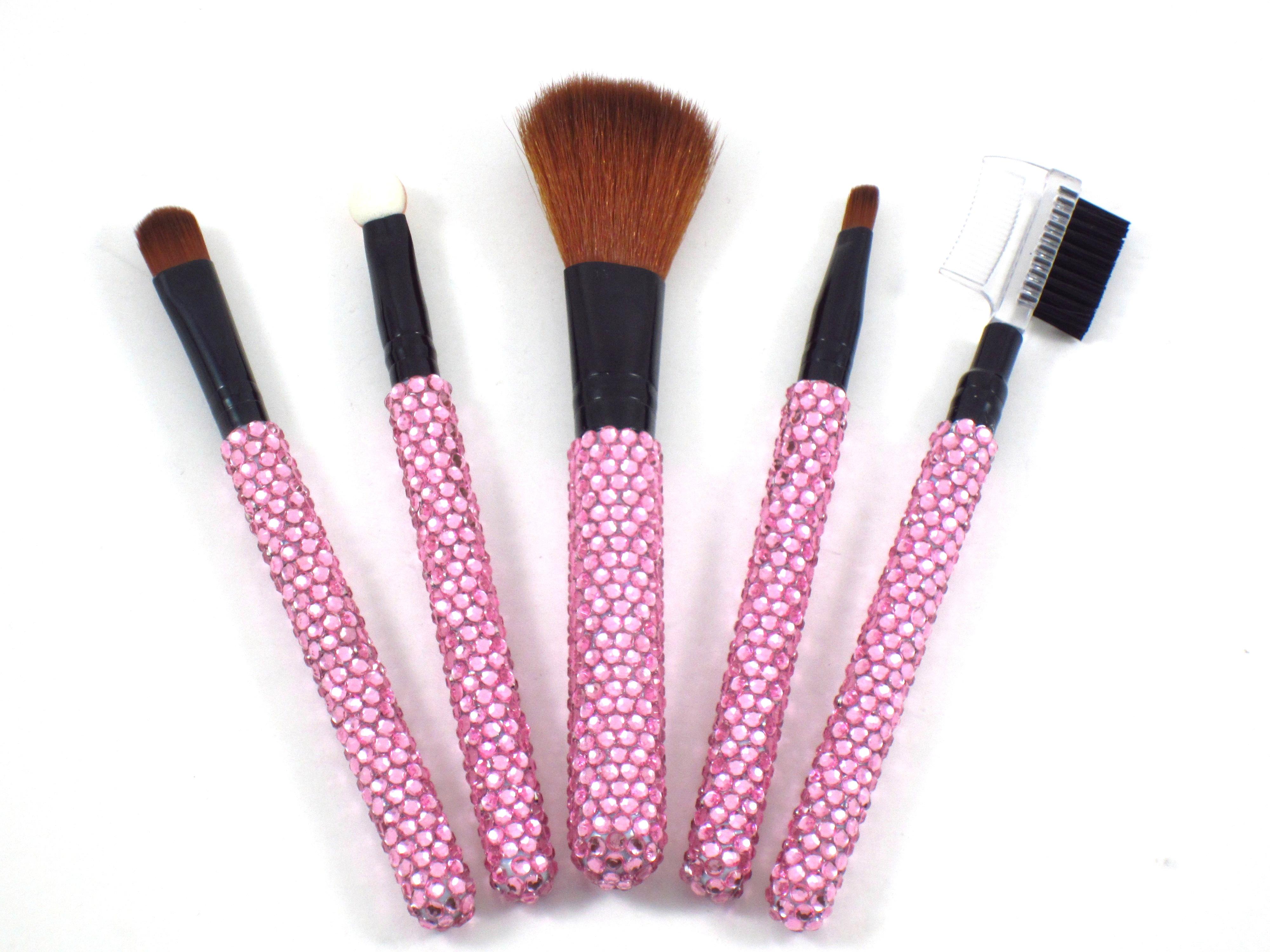 Light Pink Crystal Rhinestone Bling Embellished Cosmetic Makeup Brush Set | eBay