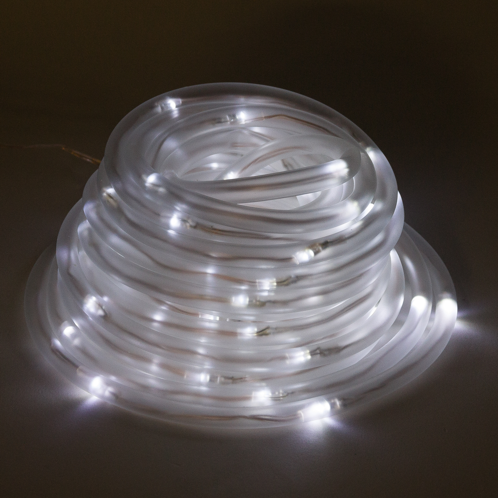 Solar powered 100 white led rope outdoor garden for Outdoor decorative lights