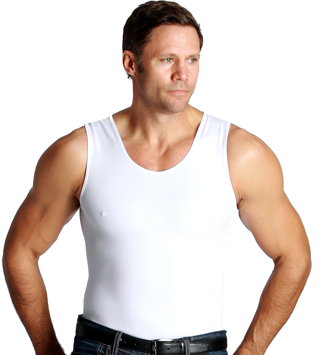 Insta Slim White Muscle Tank Mens Firming Compression ...