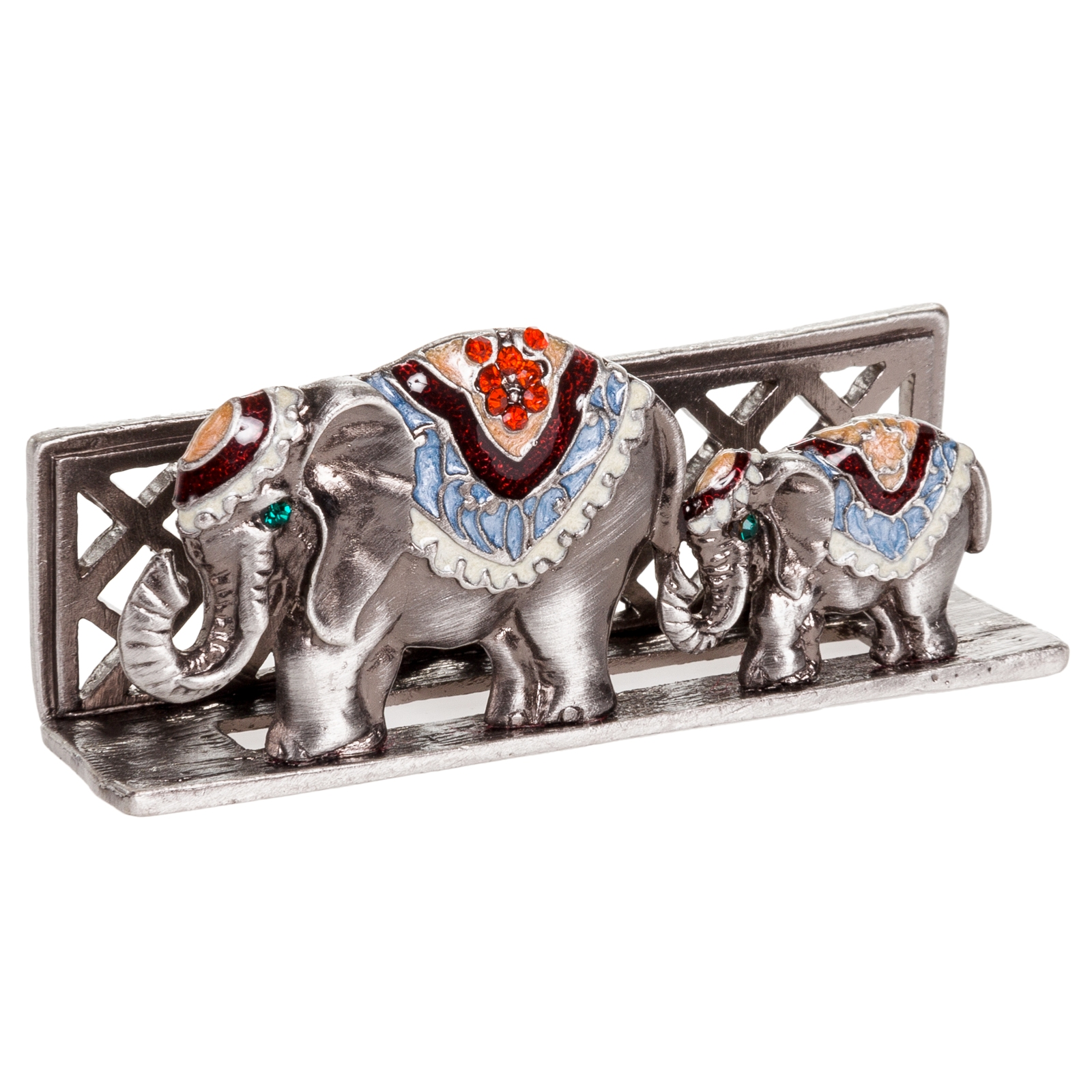 Welforth Silver Elephant Desk Business Card Holder w/ Red Crystals at Sears.com