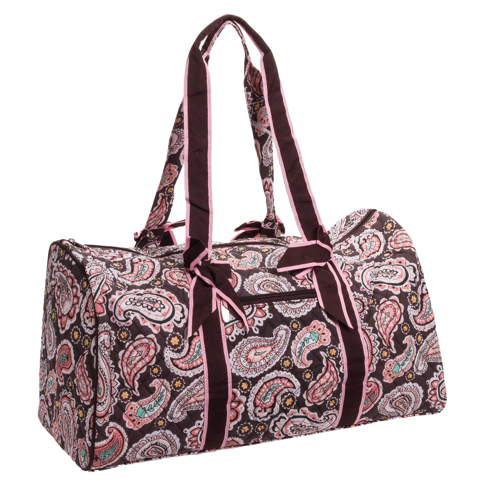belvah quilted brown paisley large duffle bag travel