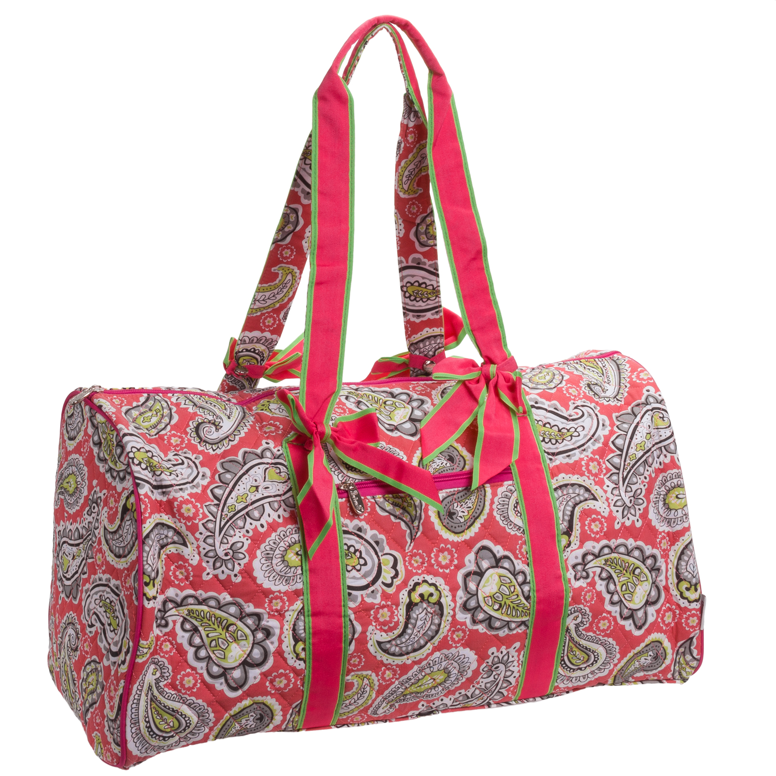 belvah quilted fuschia paisley large duffle bag travel