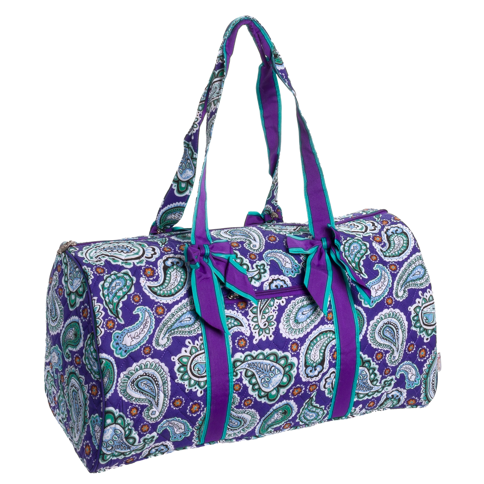 belvah quilted purple paisley large duffle bag travel