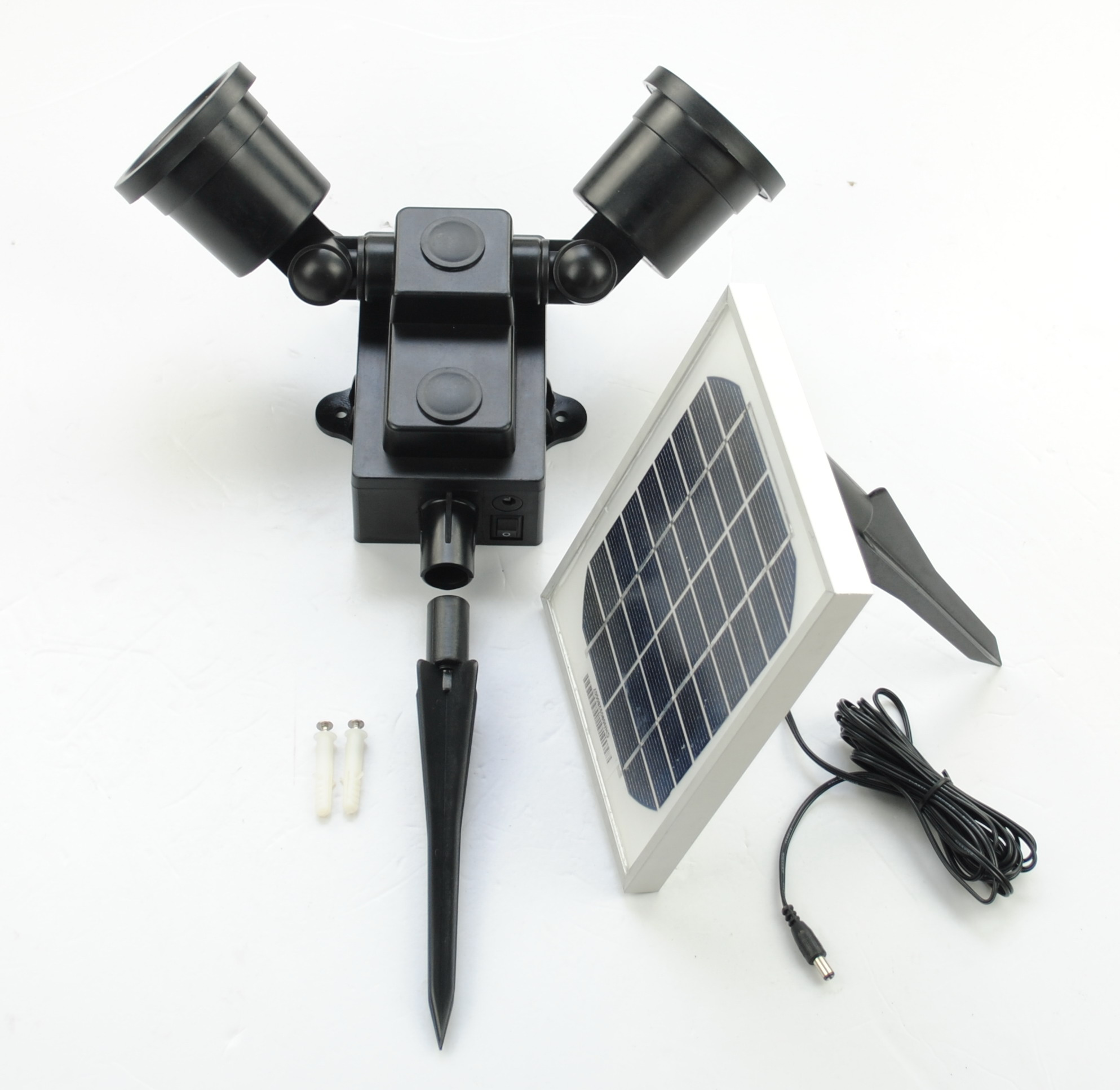 Dual head 24 LED Outdoor Two Light Solar Powered Wall Mount Flood Light eBay