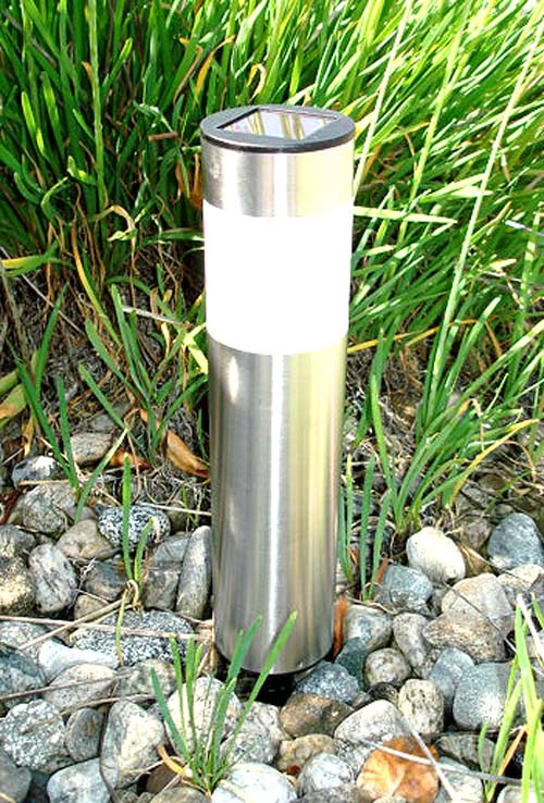16 pack solar powered stainless steel cylinder pathway led for Electric walkway lights