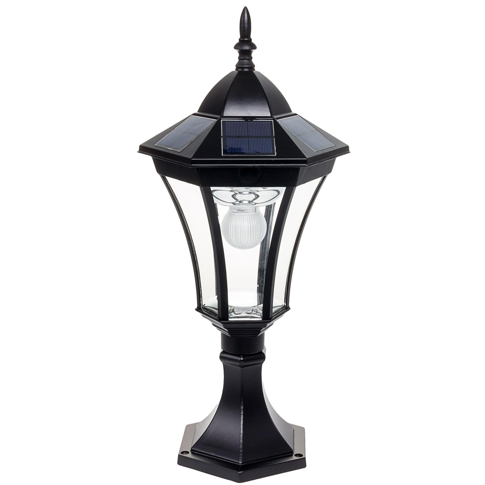 black solar 19 led outdoor garden lamp column post deck street light