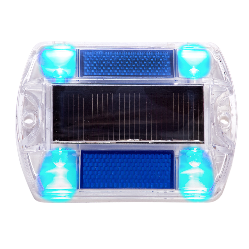 Blue Polycarbonate Solar Powered Outdoor Road Stud Path