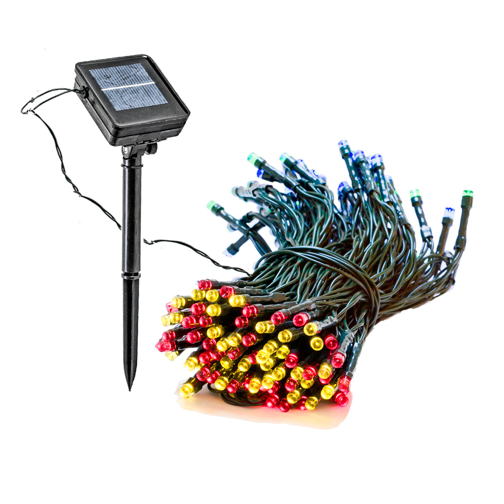 4 Pack 55 Foot Solar Outdoor Christmas Holiday String Lights With 150 RGB LED