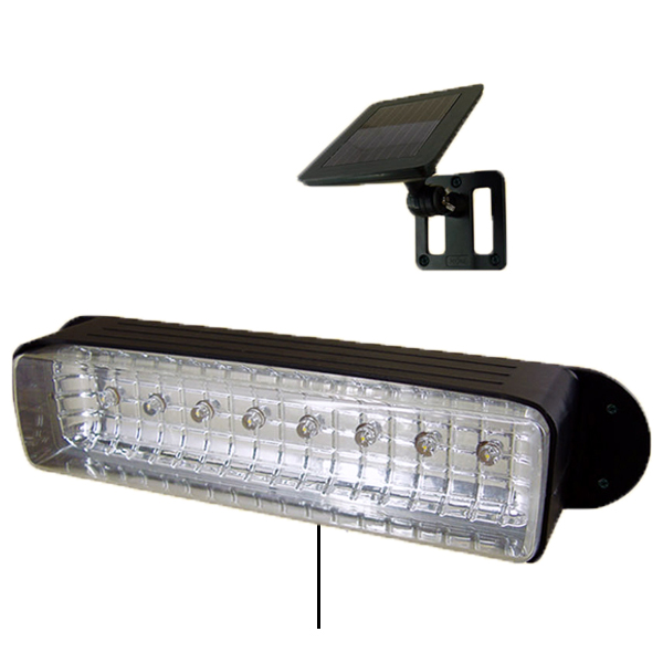 led solar powered outdoor garden deck patio shed wall light fixture