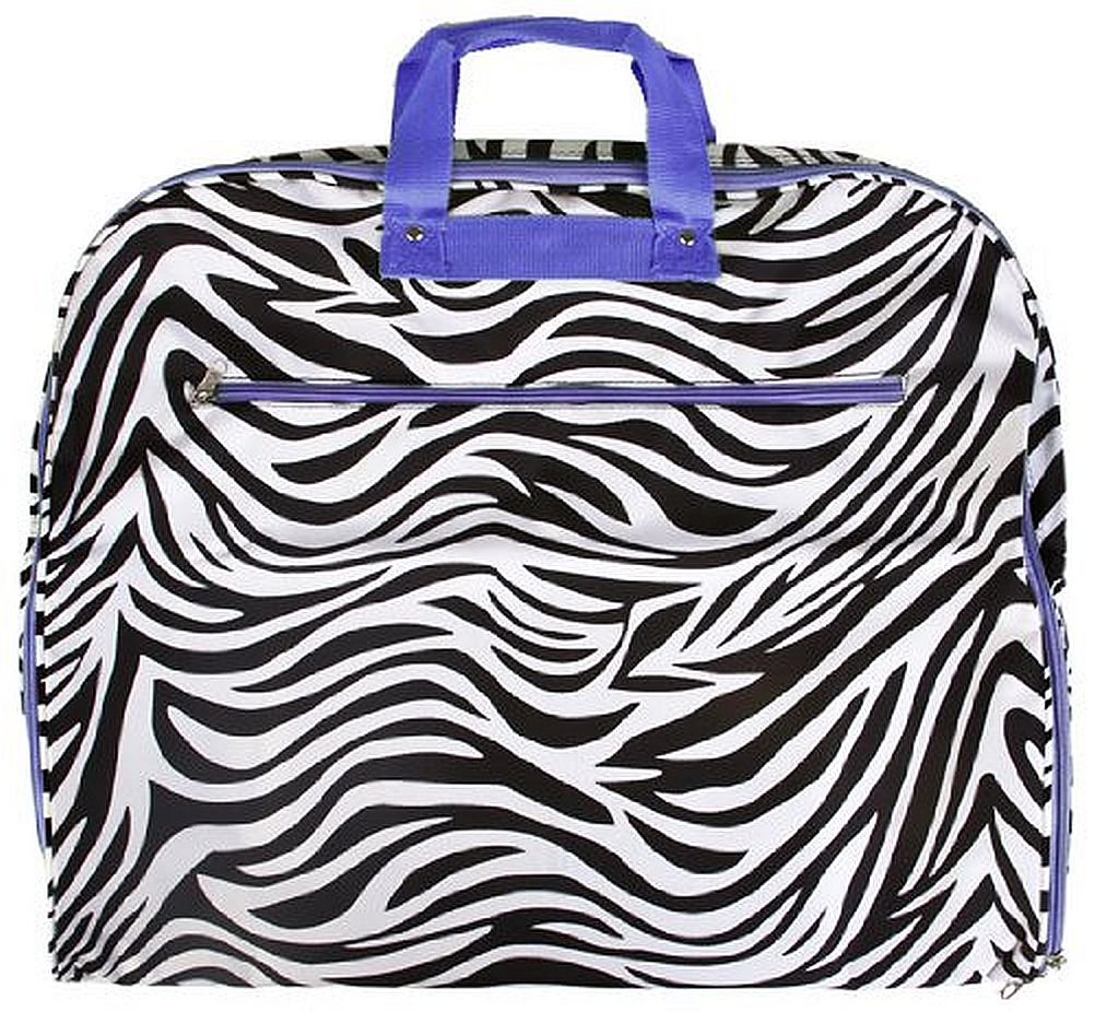 "SilverHooks 40"" Zebra Print Hanging Garment Bag w/ Light Purple Trim (Black/White/Purple) at Sears.com"