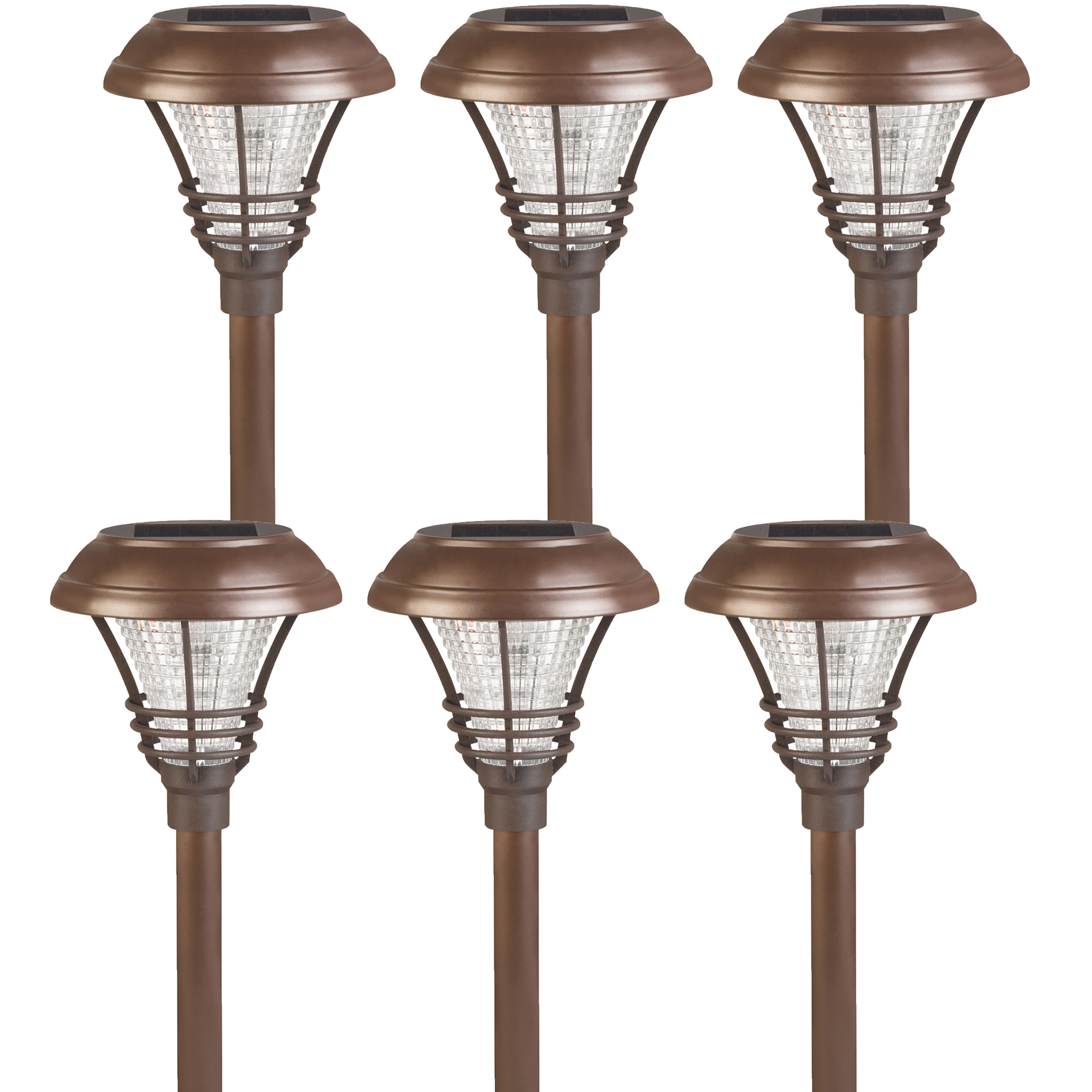6 pack westinghouse new brown kenbury solar outdoor garden led stake path lig. Black Bedroom Furniture Sets. Home Design Ideas
