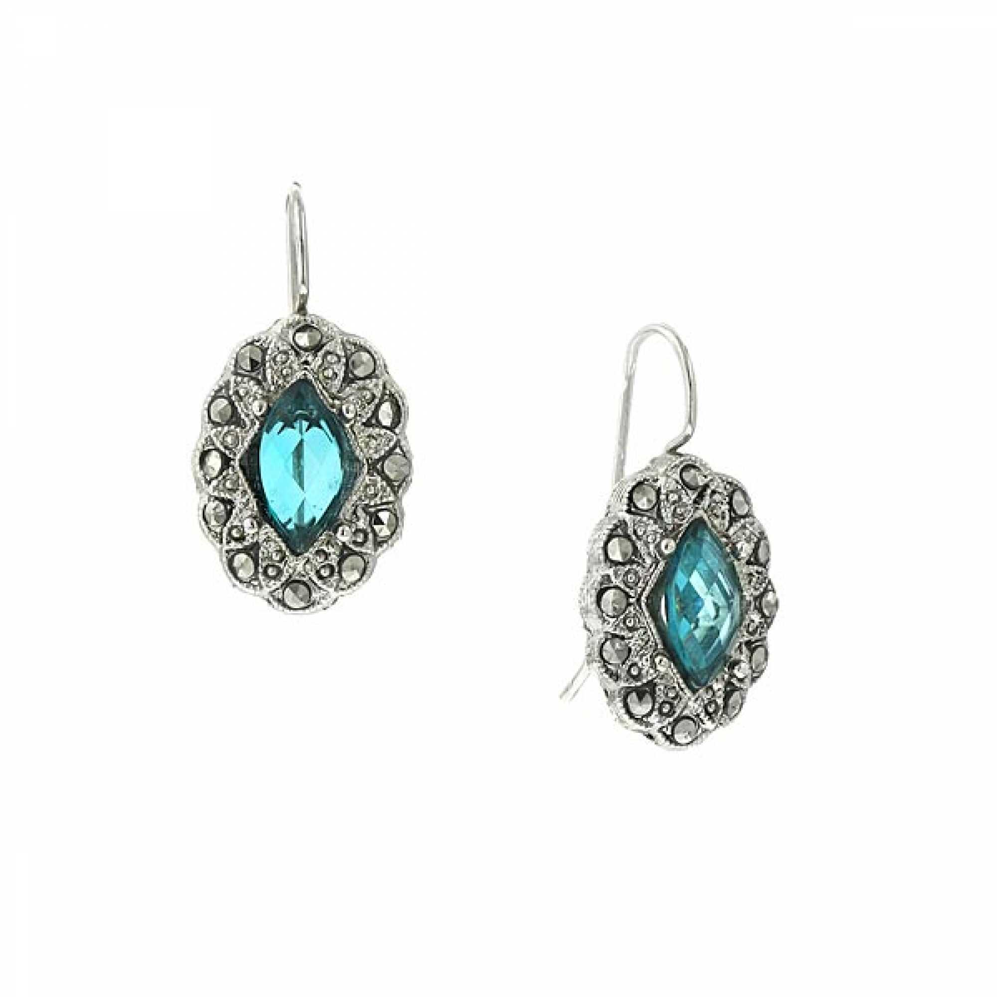 1928 jewelry teal blue and marcasite oval dangle earrings