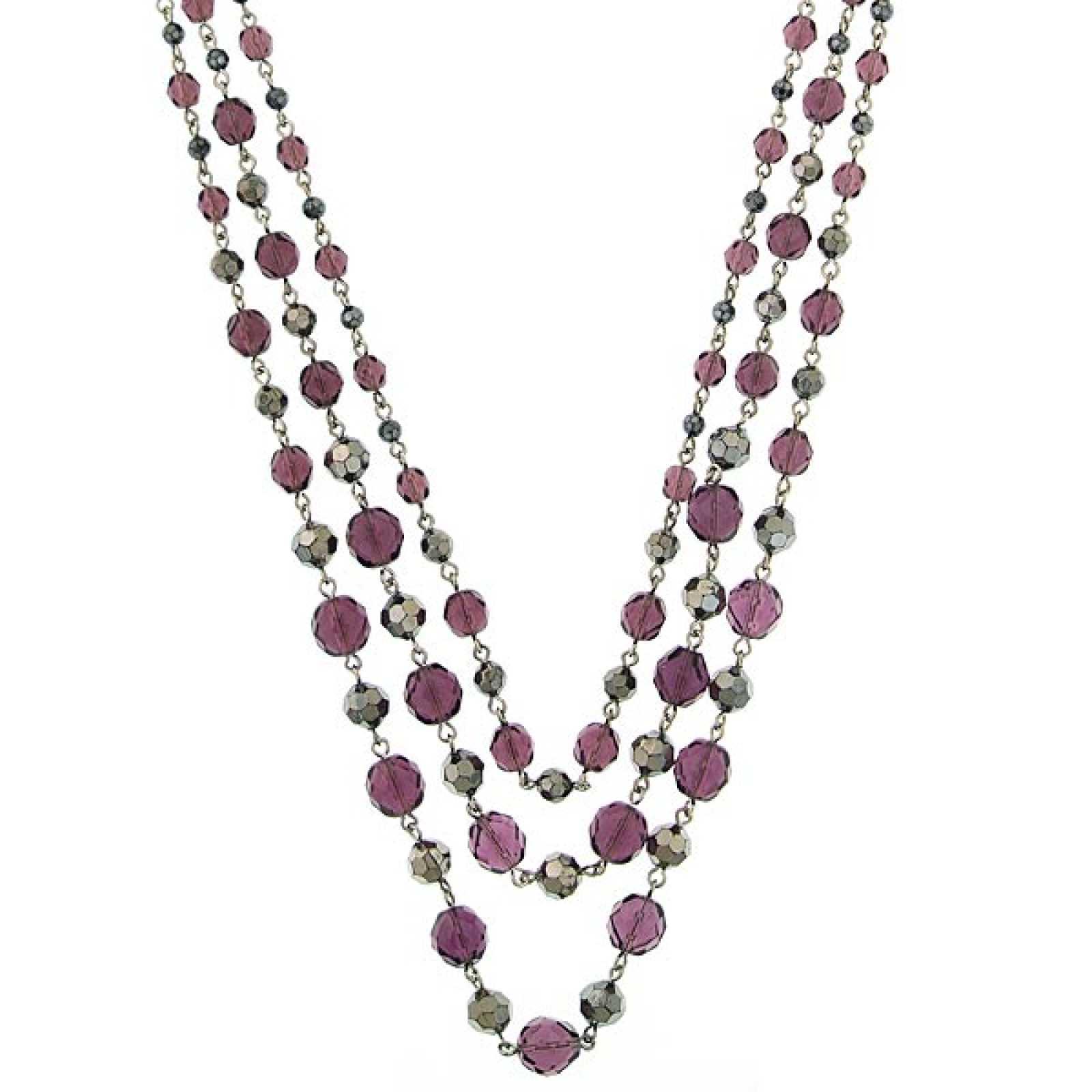 1928 Jewelry Morado Hematite Tone Multi Layered Purple Beaded Necklace at Sears.com