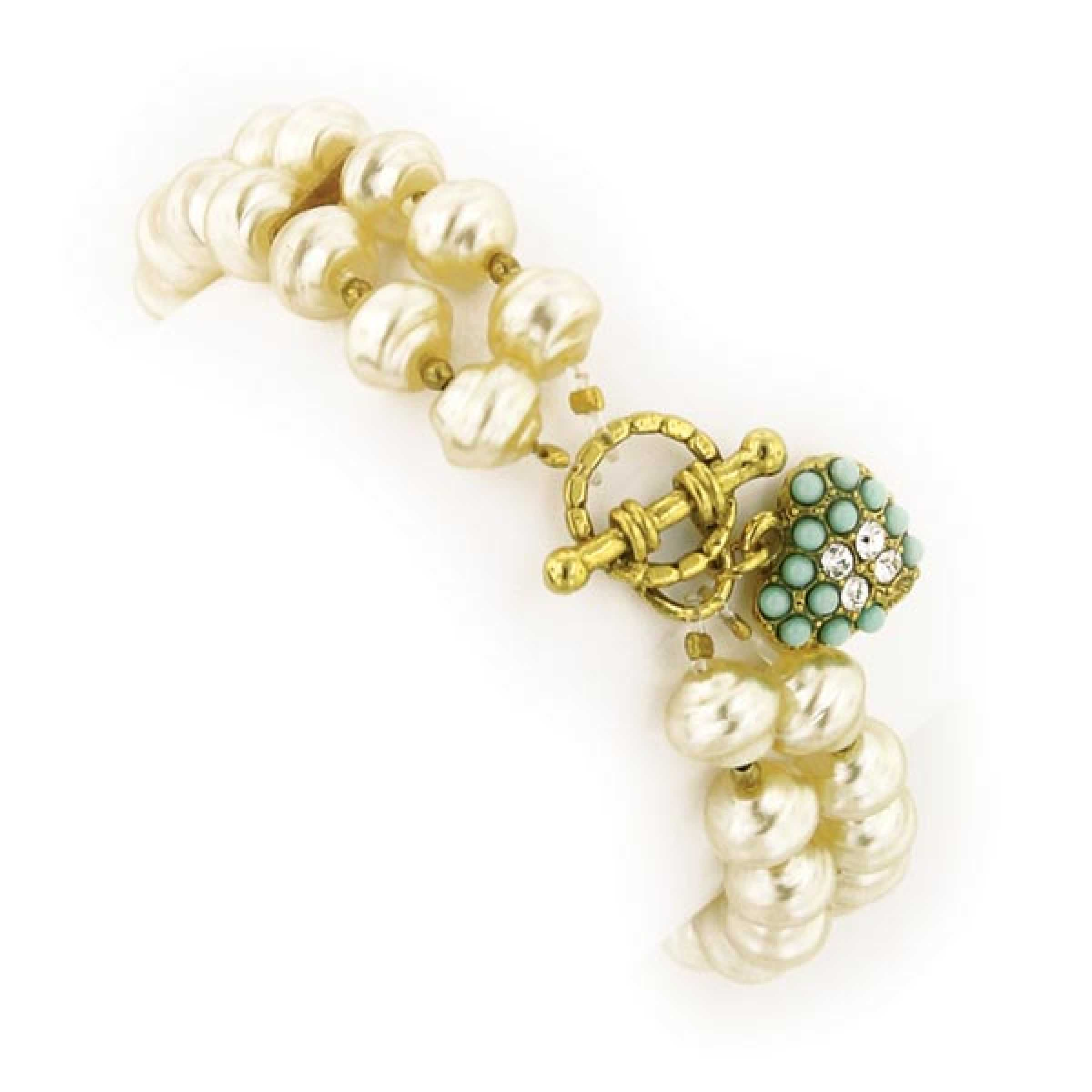 Antiquities Couture Vintage Inspired Simulated Pearl Gold Tone Stretch Bracelet