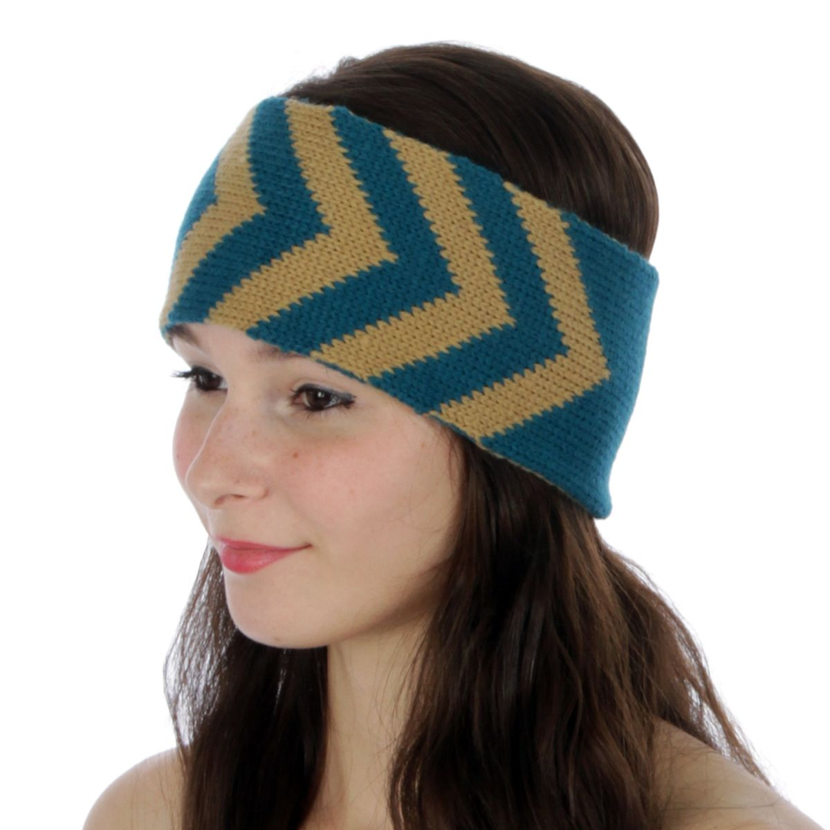 Women Acrylic Knit Chevron Reversible Winter Head Wrap ...