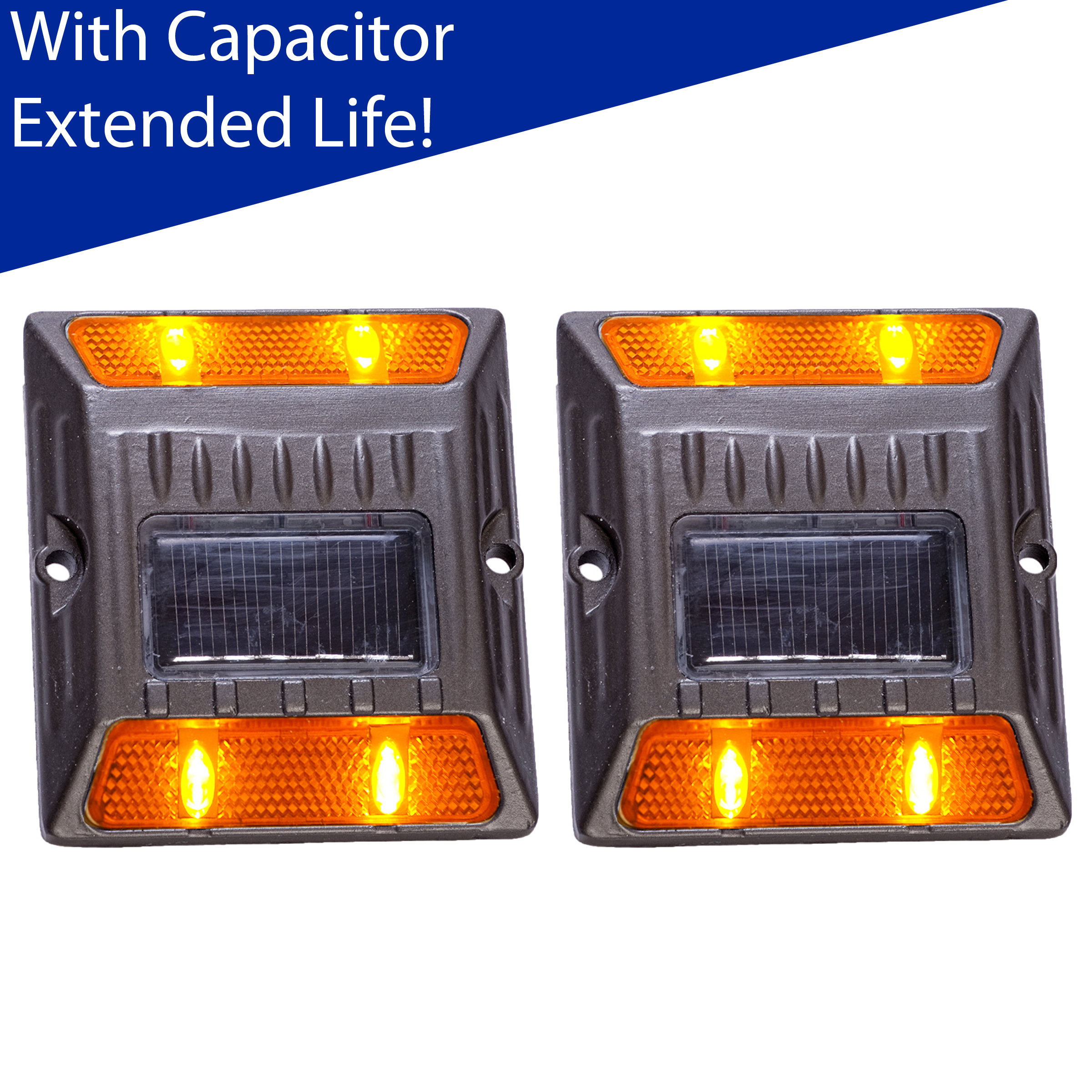 Reusable Revolution (2 Pack) Amber Alloy Solar Road Stud Path Deck Dock LED Light With Capacitor at Sears.com