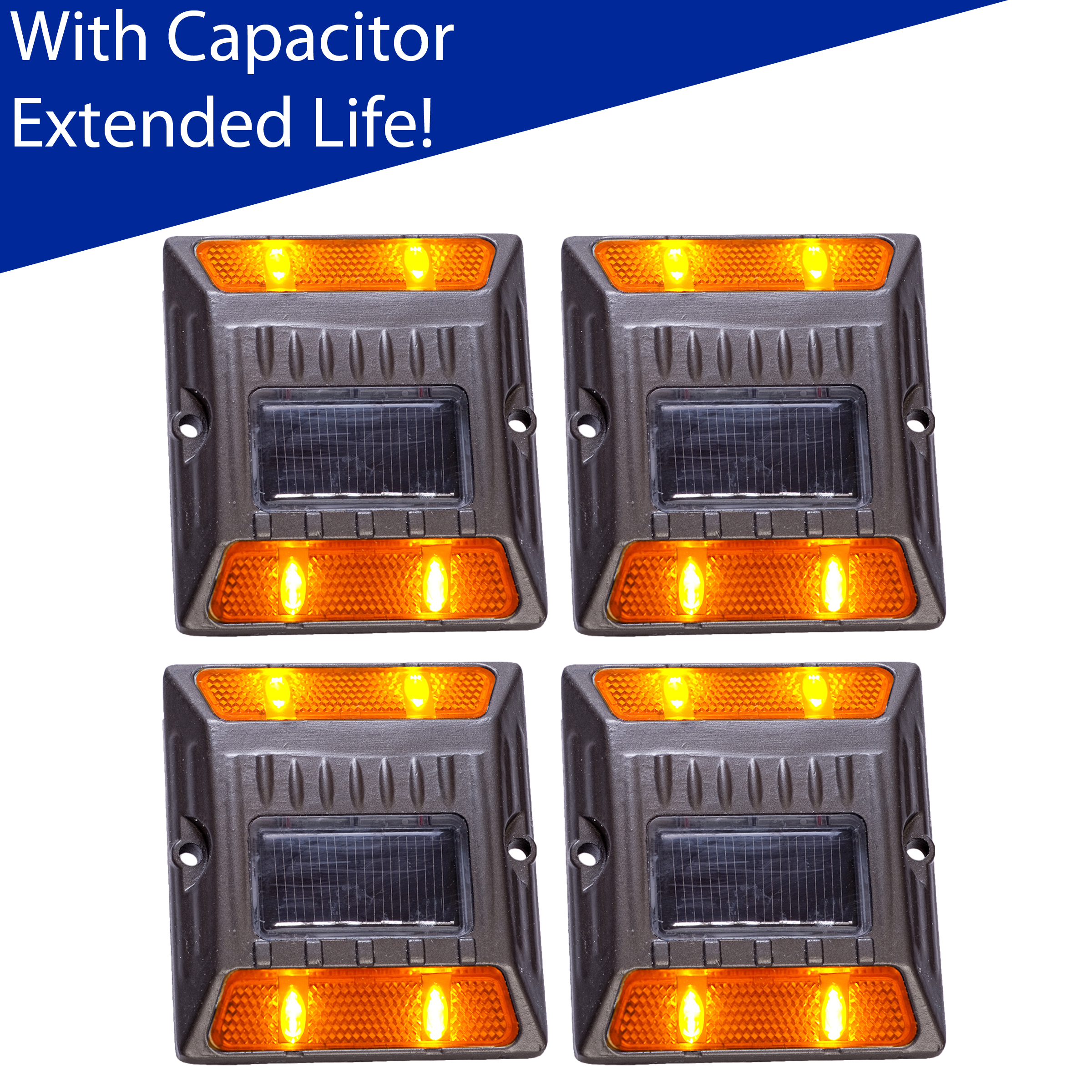 Reusable Revolution (4 Pack) Amber Alloy Solar Road Stud Path Deck Dock LED Light With Capacitor at Sears.com