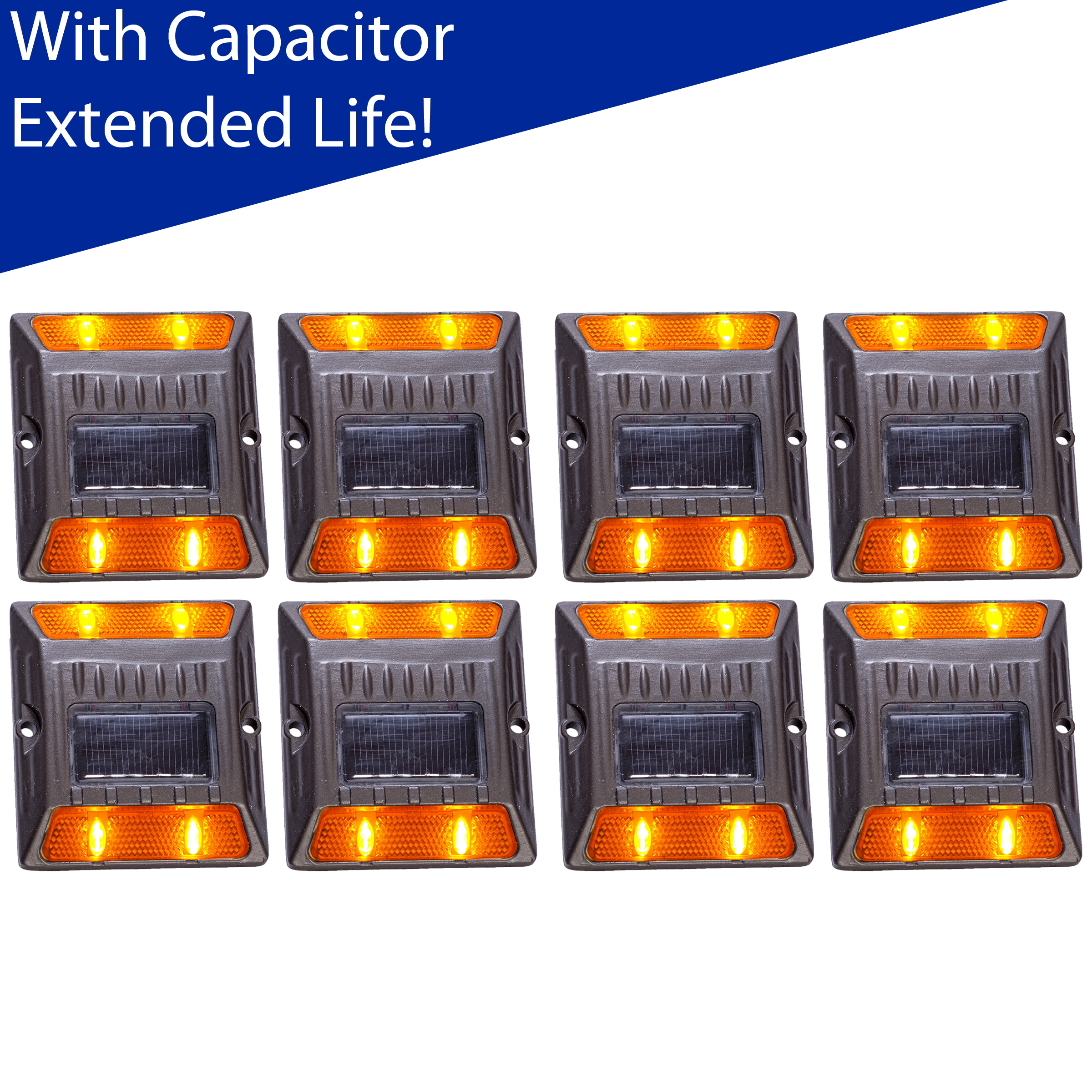 Reusable Revolution (8 Pack) Amber Alloy Solar Road Stud Path Deck Dock LED Light With Capacitor at Sears.com