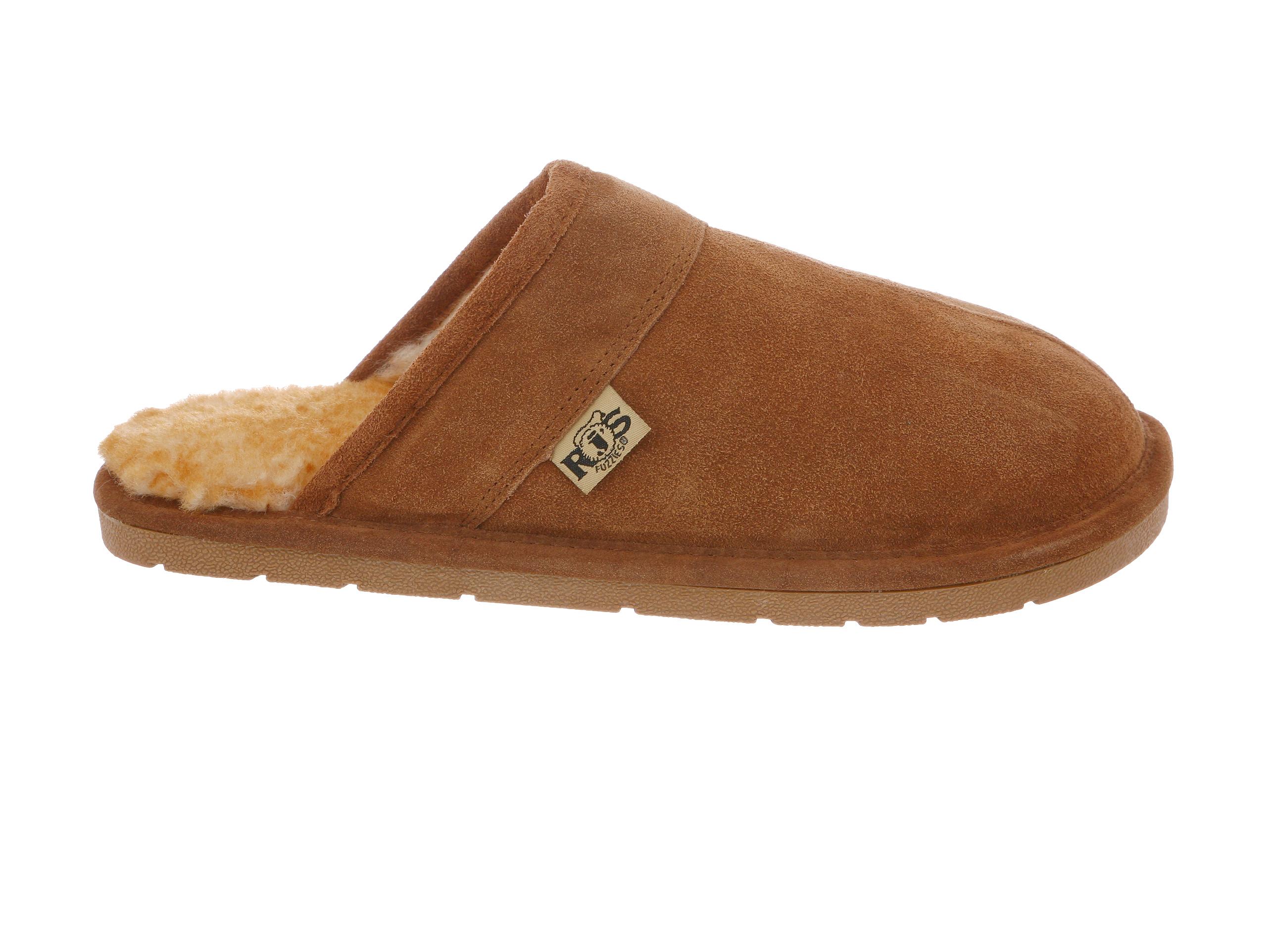 M, B Womens Rj/'s Fuzzies Sheepskin Booties Slippers Suede Chestnut Medium