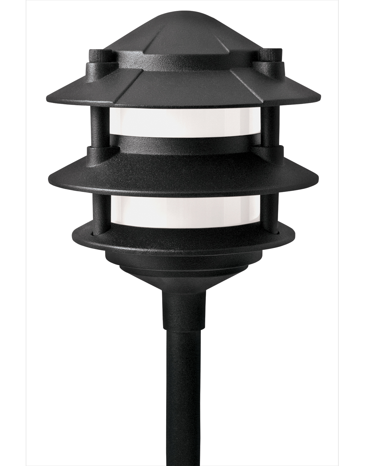 low voltage black aluminum 11 watt 3 tier outdoor garden path light. Black Bedroom Furniture Sets. Home Design Ideas