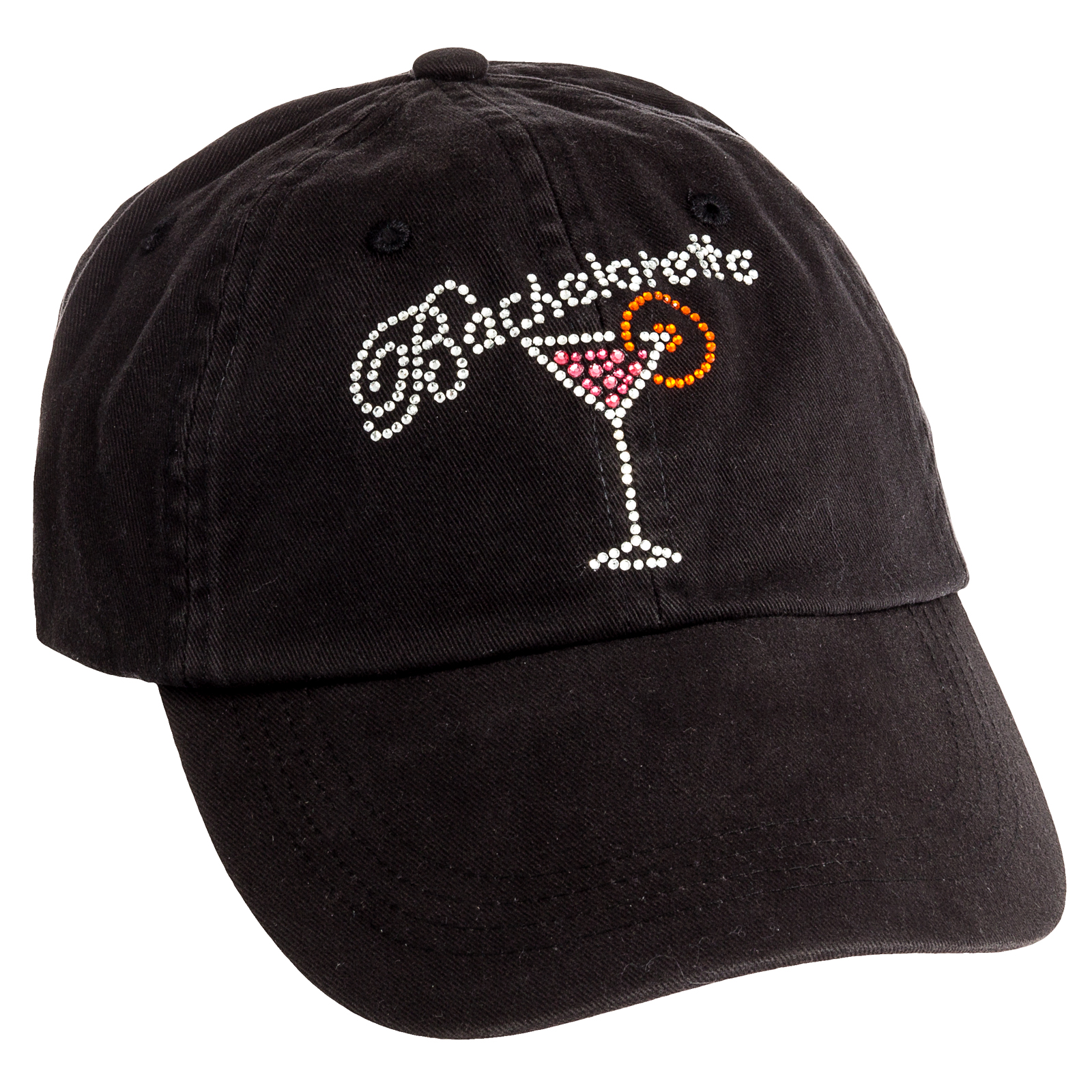 womens black adjustable baseball cap rhinestone