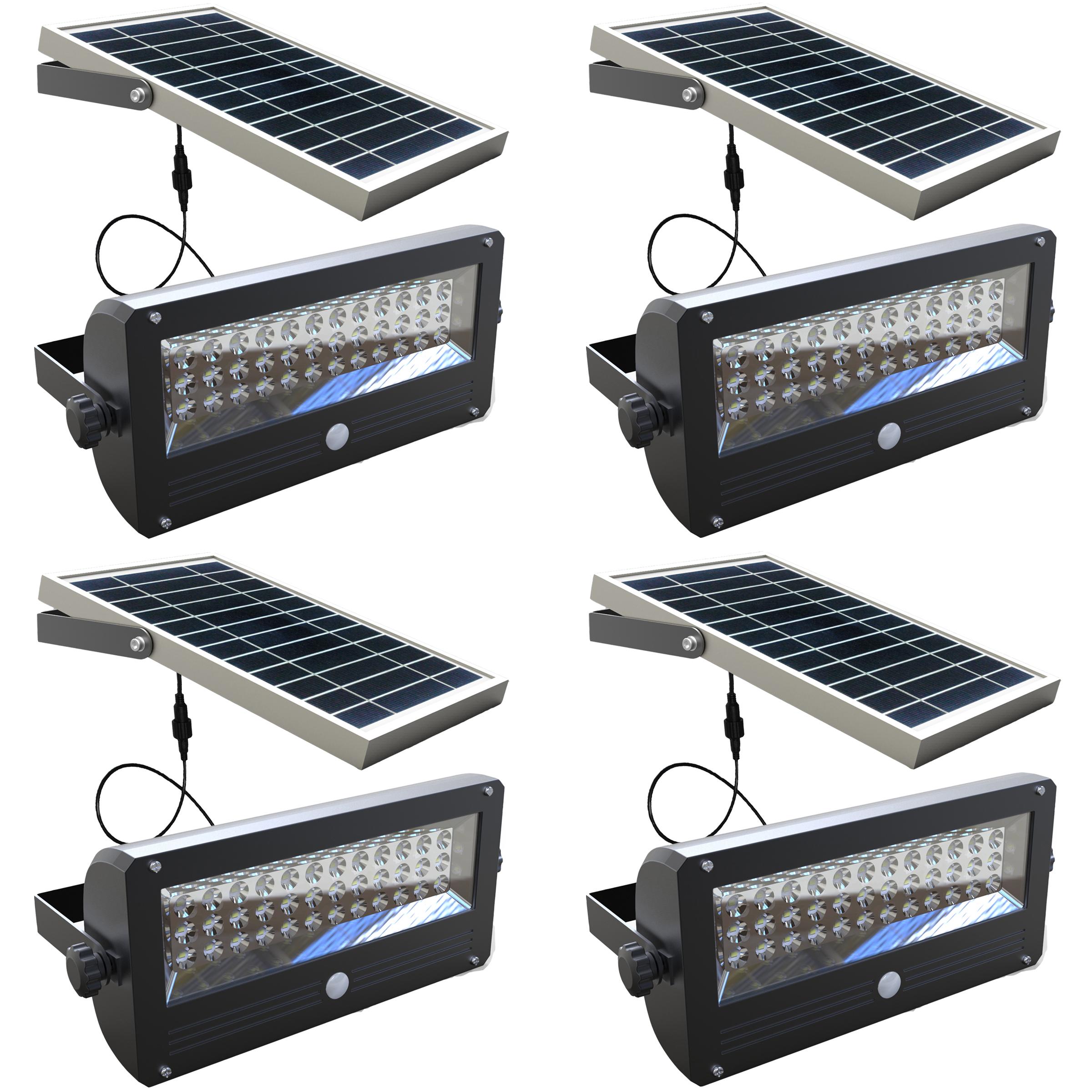 Led Wall Pack Flood Light: 4 Pack 36 LED Solar Outdoor Wall PIR Entrance Motion