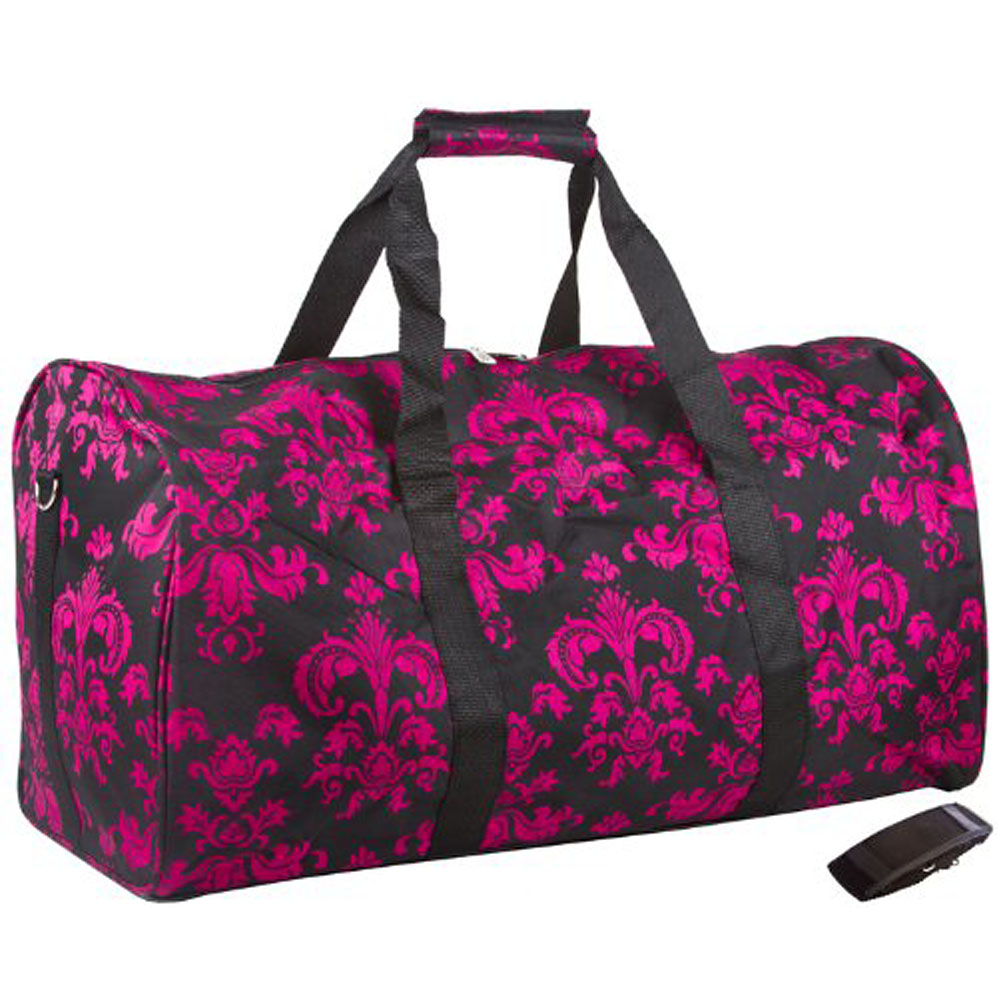 Womenu0026#39;s Pink U0026 Black Floral Damask 22u0026quot; Carry On Duffel Duffle Bag | EBay