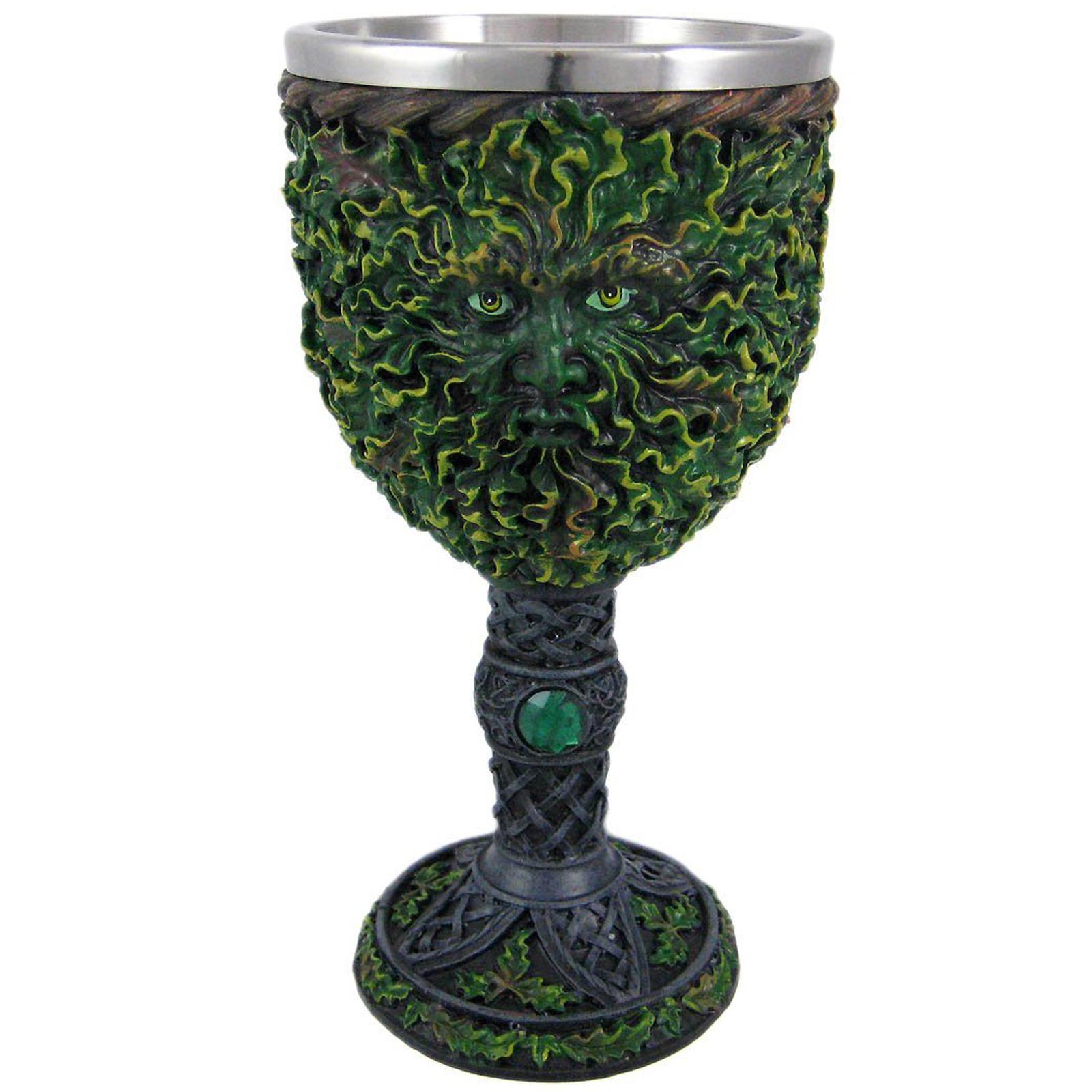 Greenman tree medieval renaissance wine goblet green gemstone celtic chalice cup ebay - Plastic medieval goblets ...