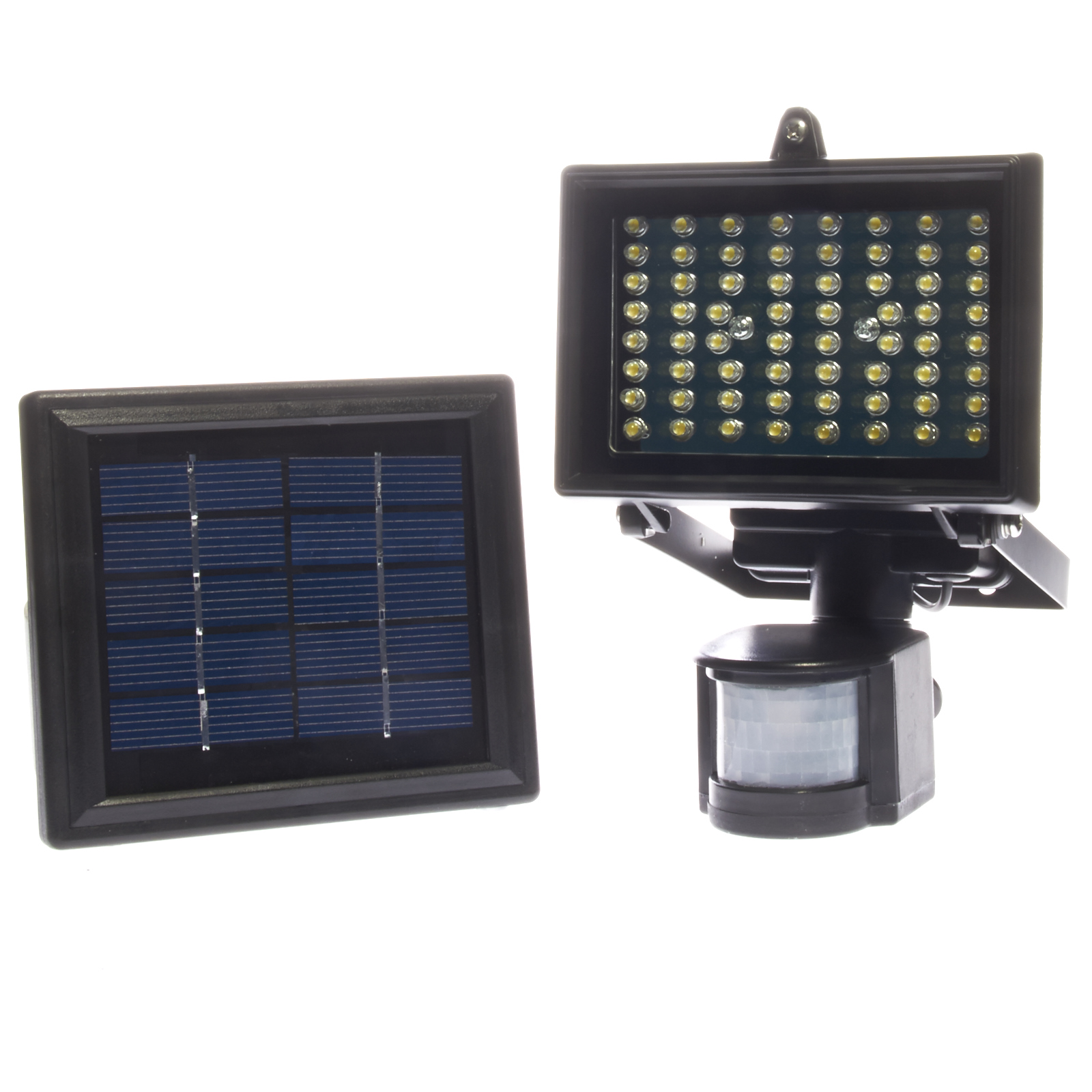 64 led solar powered outdoor digital pir motion sensor. Black Bedroom Furniture Sets. Home Design Ideas