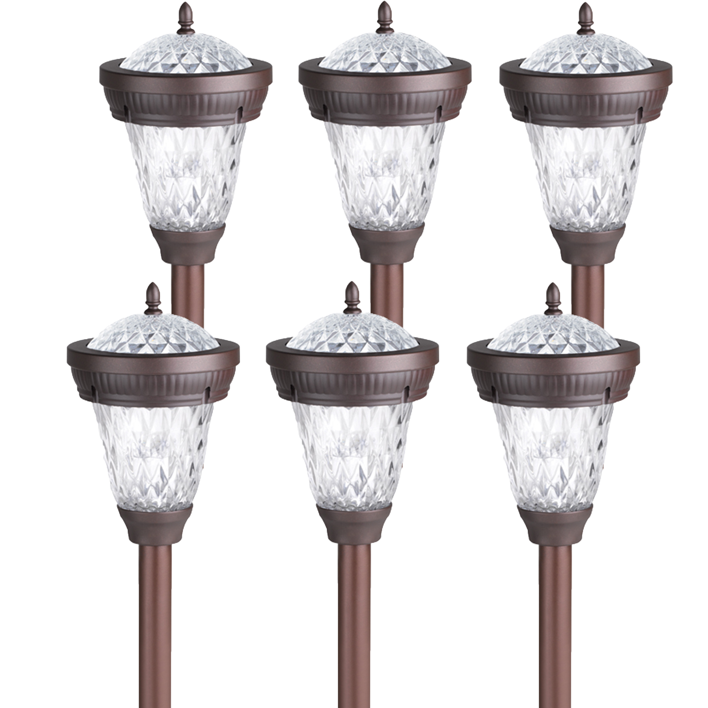 6 pack westinghouse bastille ii solar outdoor garden stake path light bronze. Black Bedroom Furniture Sets. Home Design Ideas