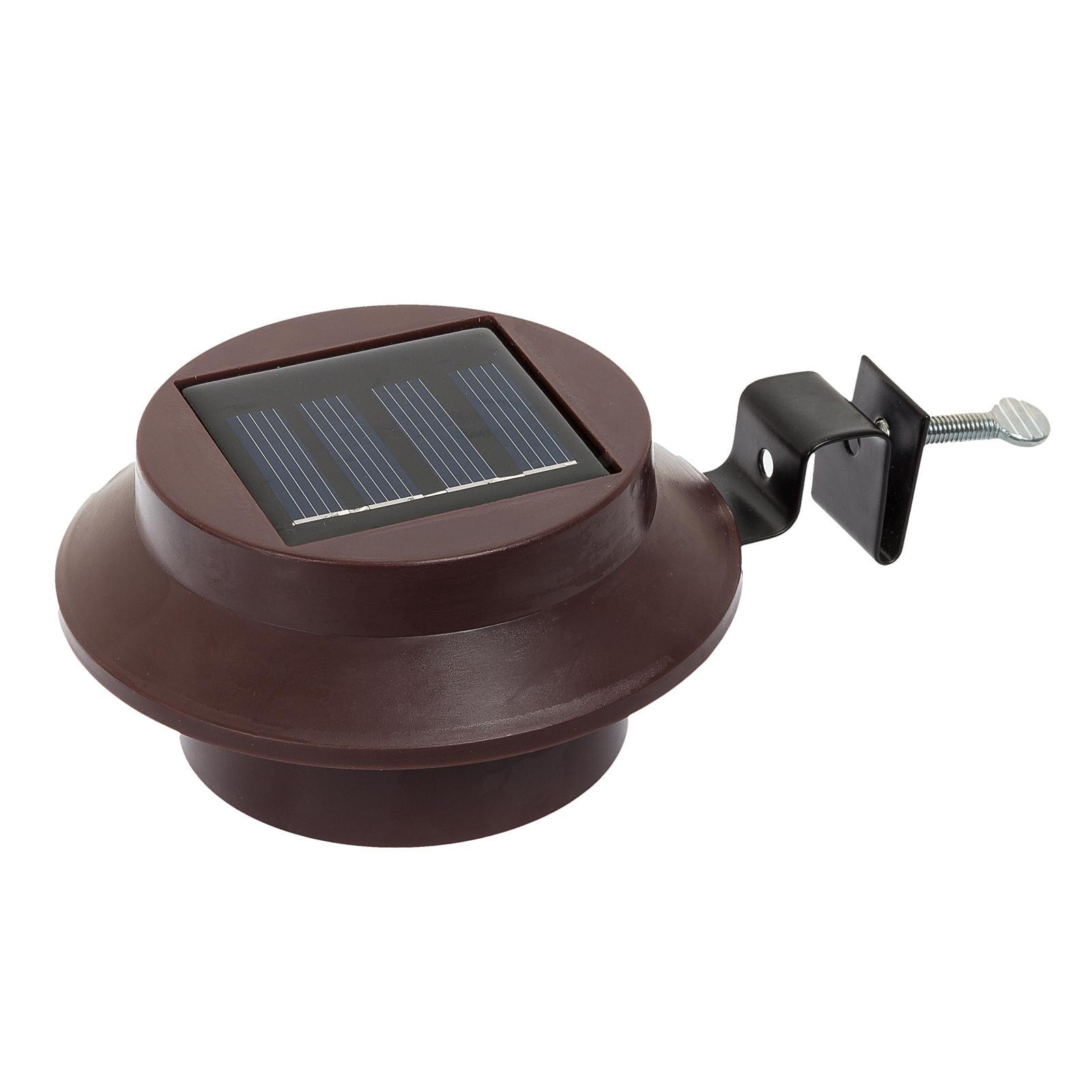Brown Solar Powered Outdoor Garden White LED Roof Gutter Light | eBay