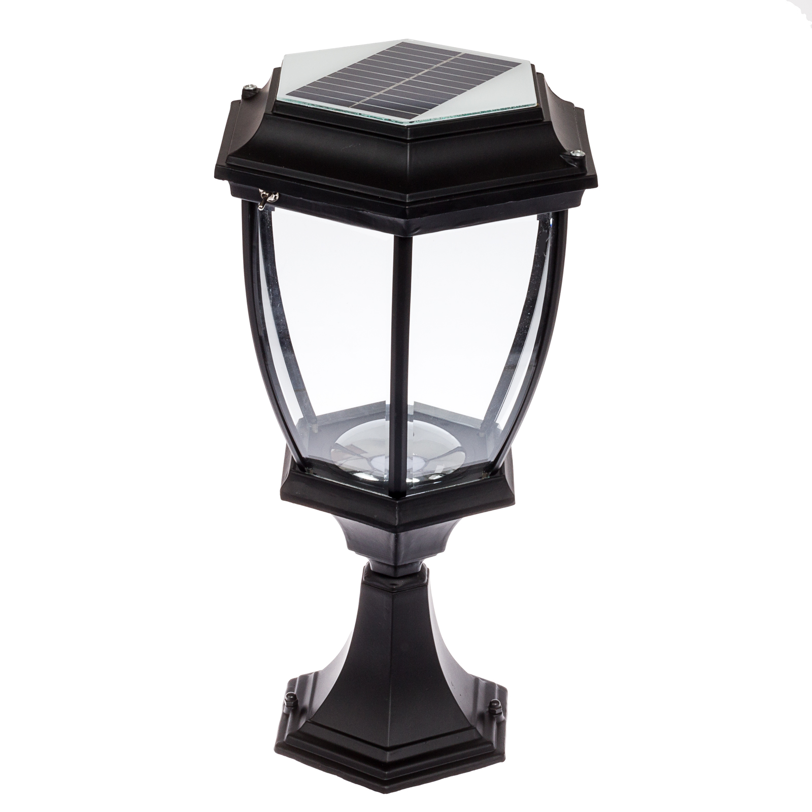 Solar 12 led outdoor garden lamp column post topper lantern light black ebay for Solar exterior post lantern light