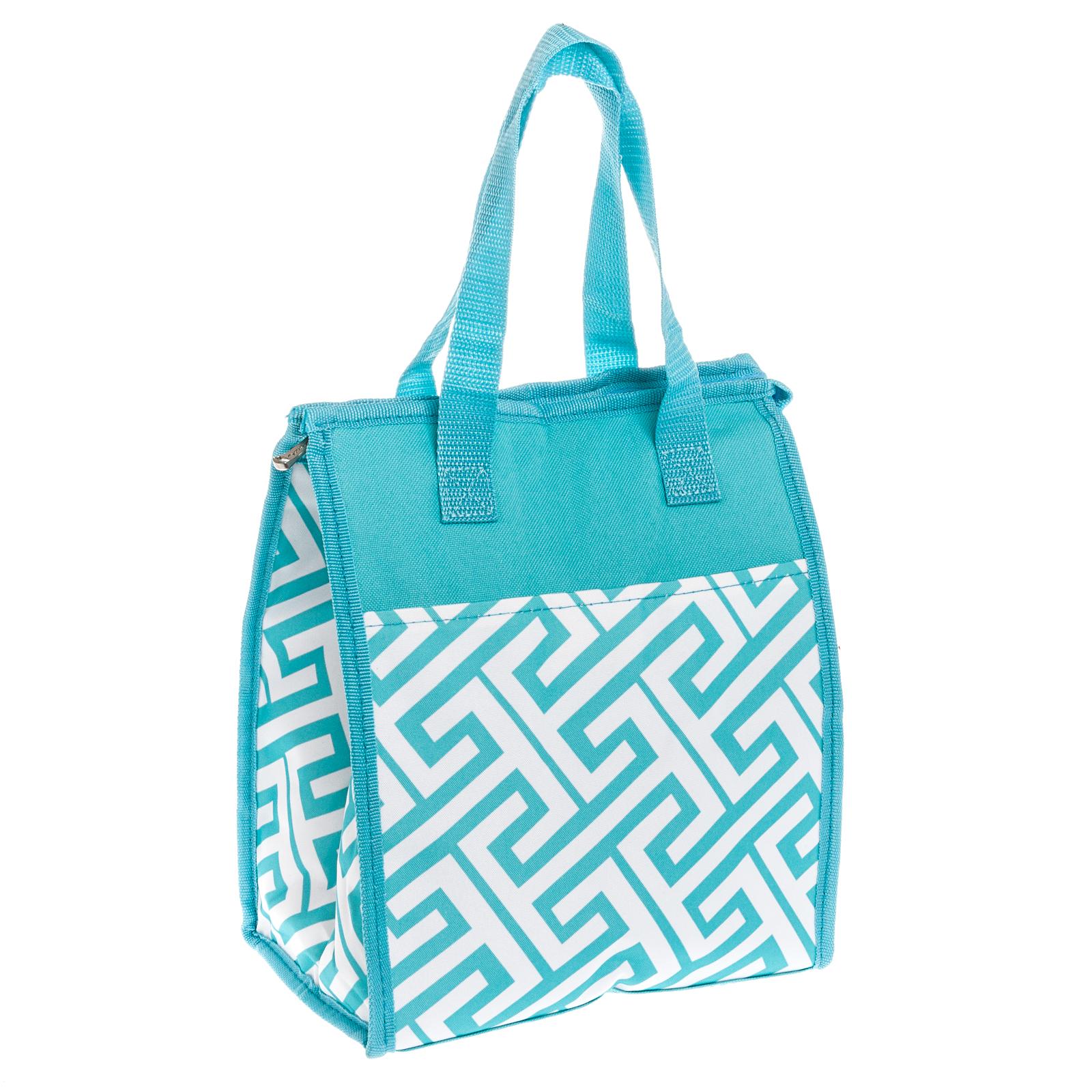 womens turquoise white greek key nylon insulated work school lunch box bag new ebay. Black Bedroom Furniture Sets. Home Design Ideas