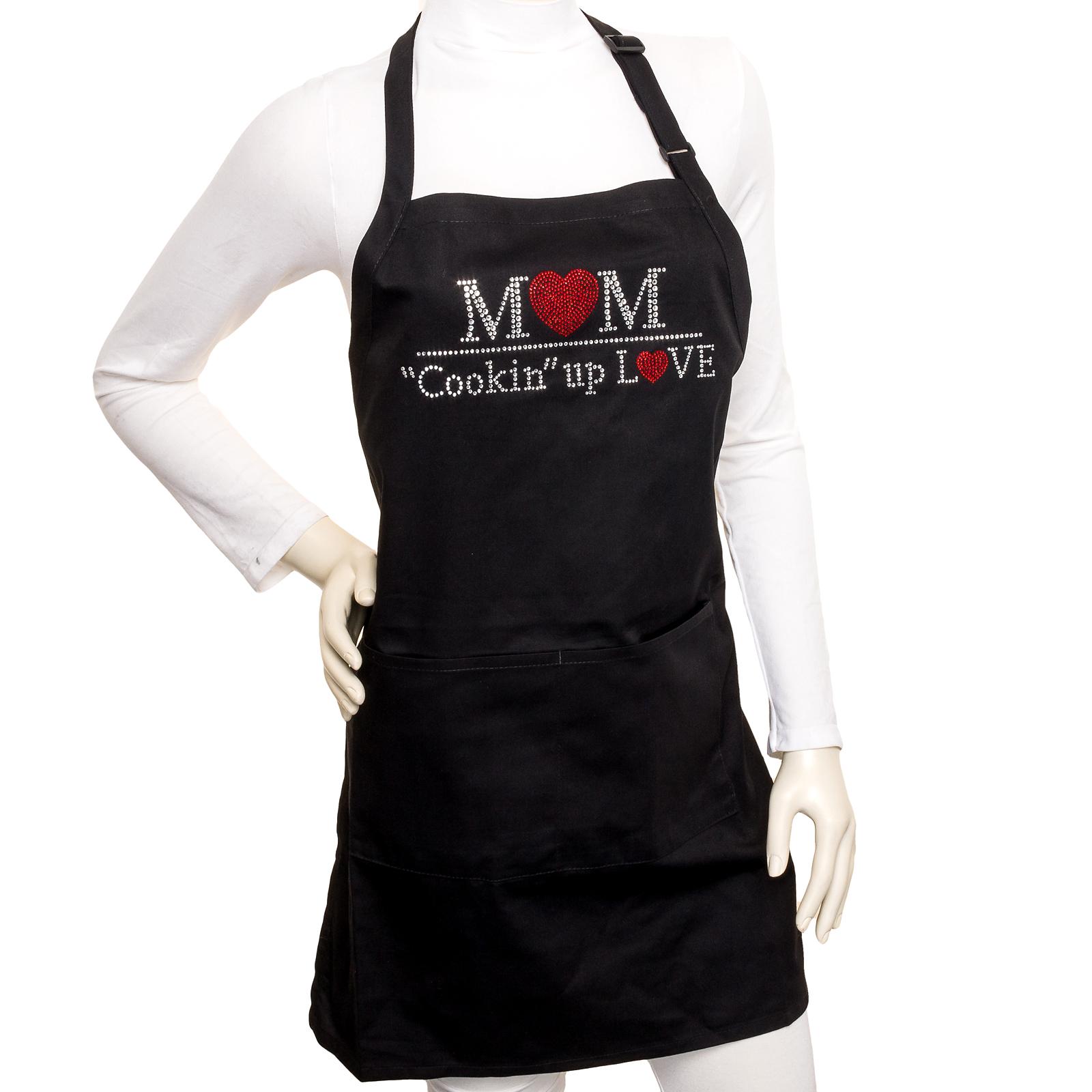 womens black crystal bling kitchen cooking apron. Black Bedroom Furniture Sets. Home Design Ideas